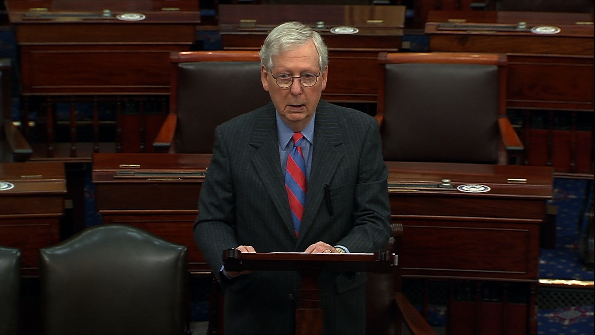 Senate Majority Leader Mitch McConnell speaks on the Senate floor in Washington, DC, on December 17.