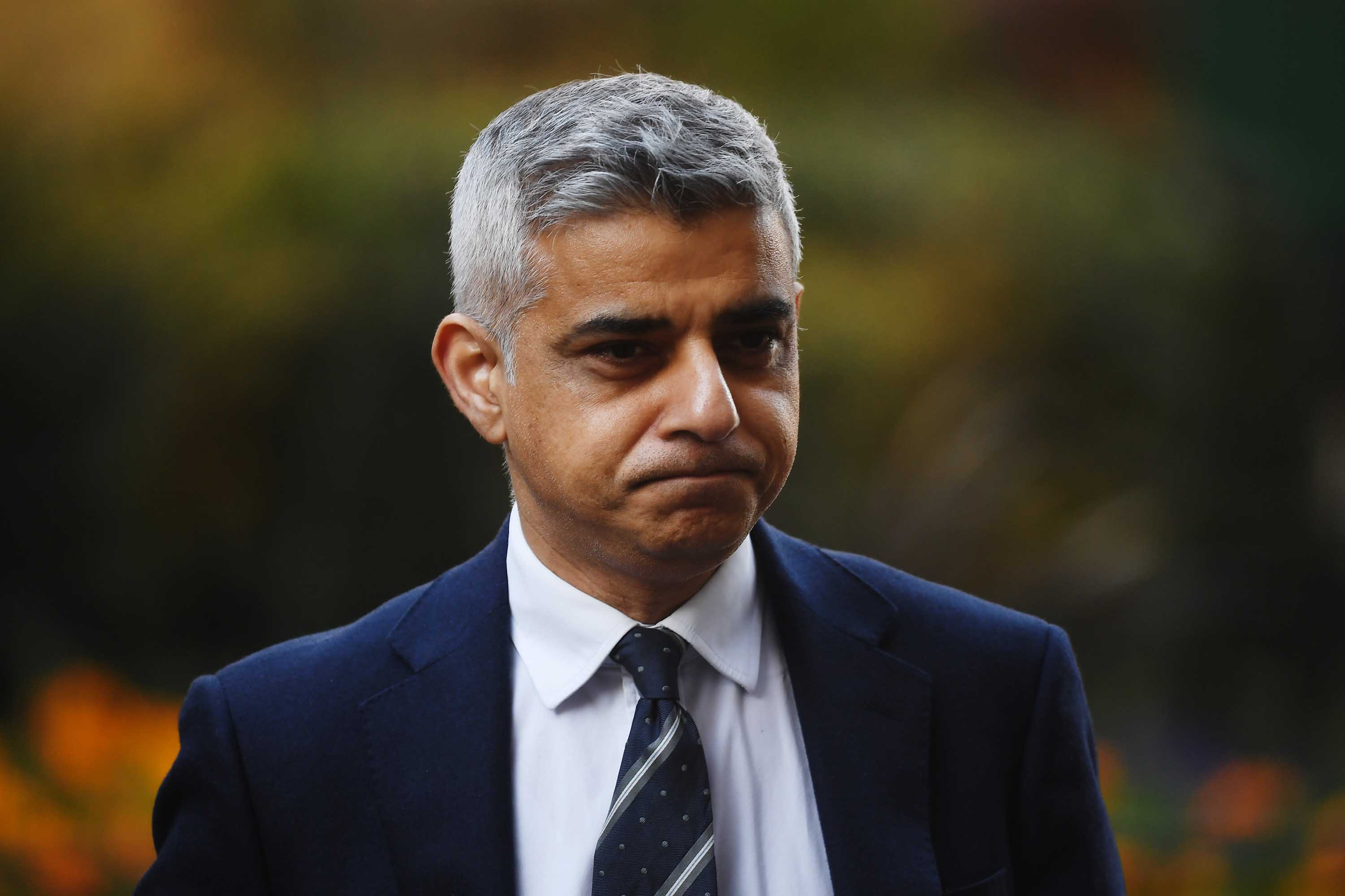 London Mayor Sadiq Khan arrives in Downing Street in London ahead of government briefing on March 16.