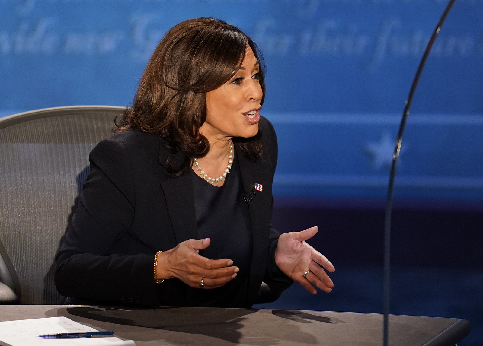 Democratic vice presidential candidate Sen. Kamala Harris speaks to Vice President Mike Pence during the vice presidential debate on Wednesday in Salt Lake City.