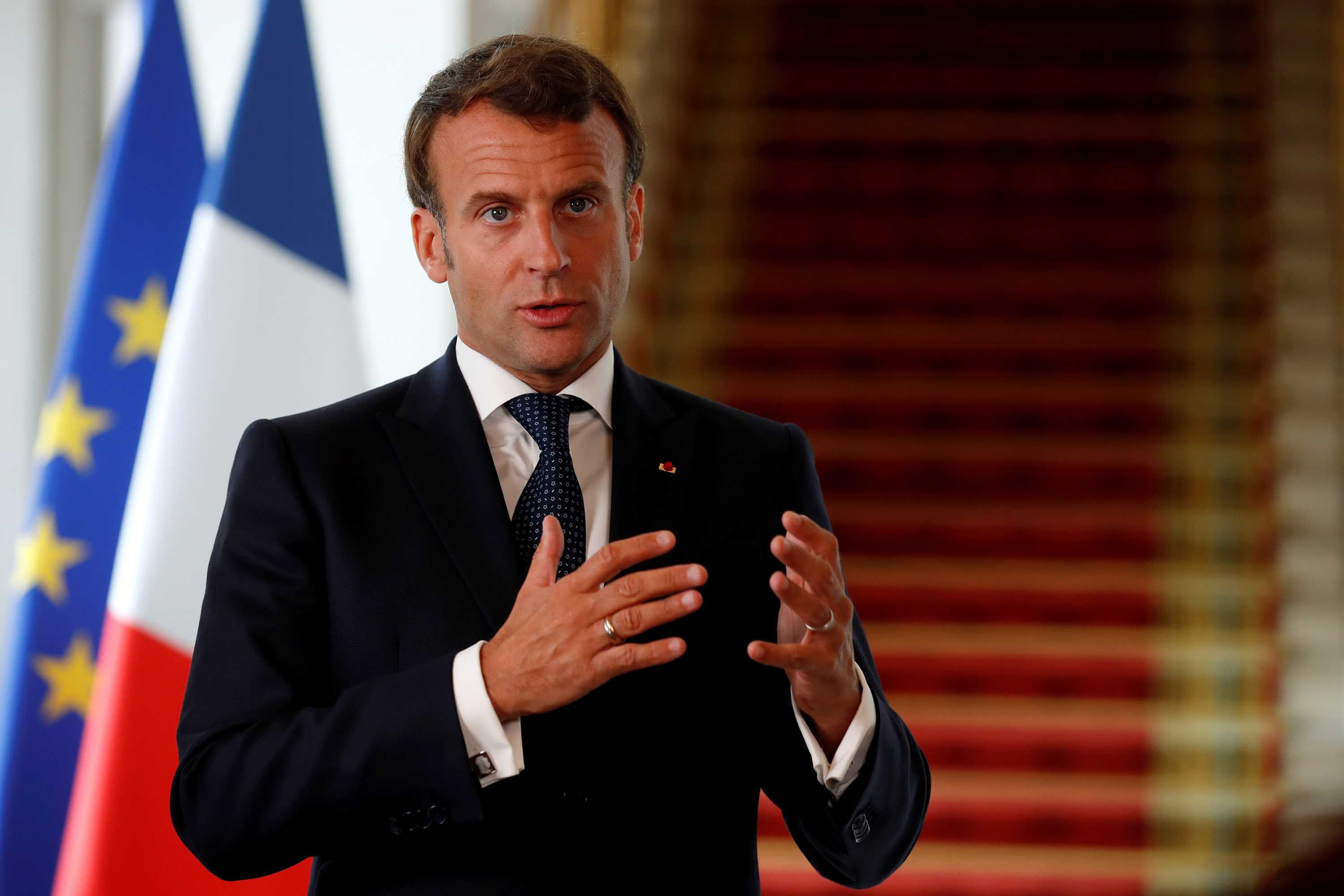 French President Emmanuel Macron delivers a statement from the Elysee Palace in Paris on May 4.