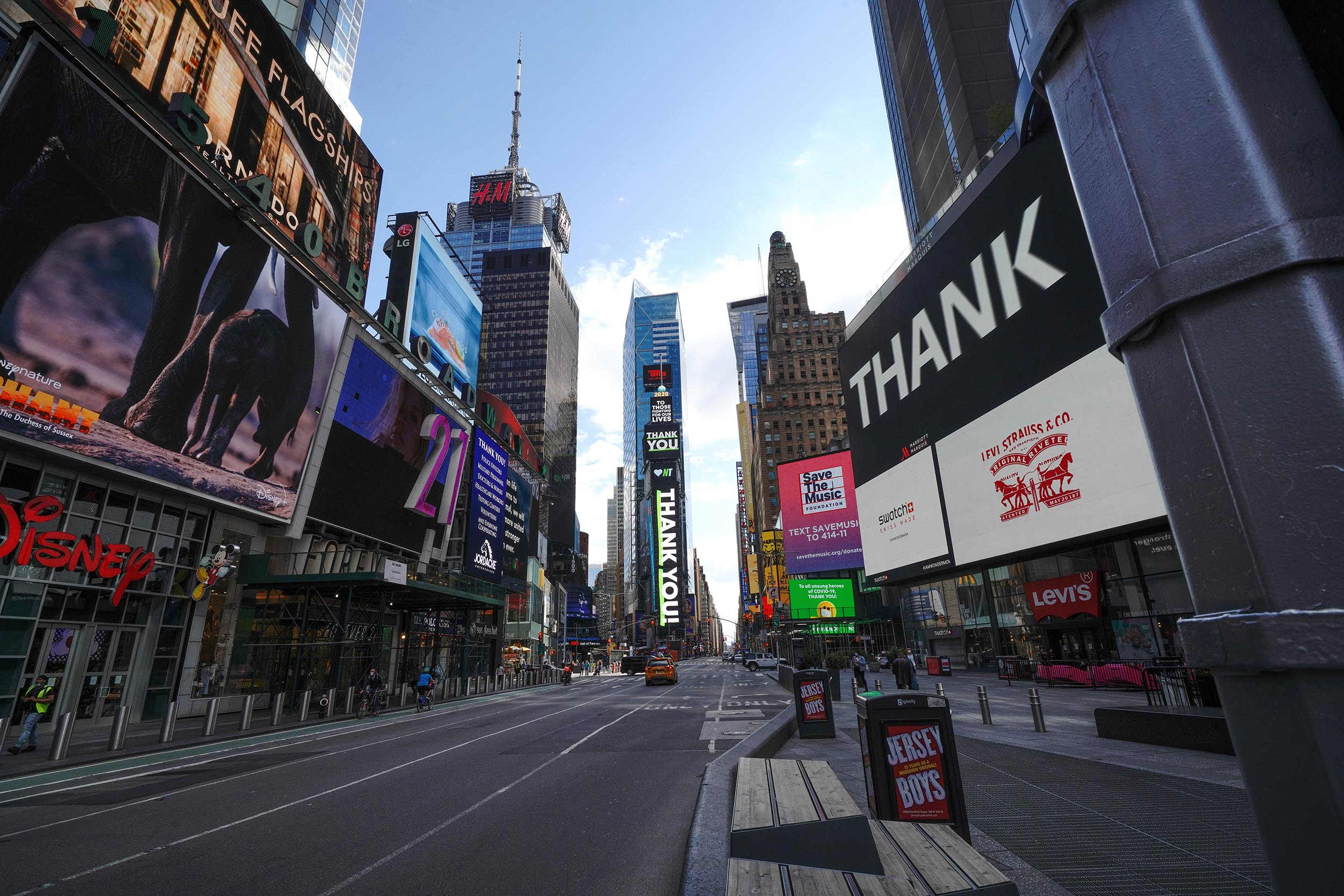A view of an empty Times Square in New York during the coronavirus pandemic on May 4.