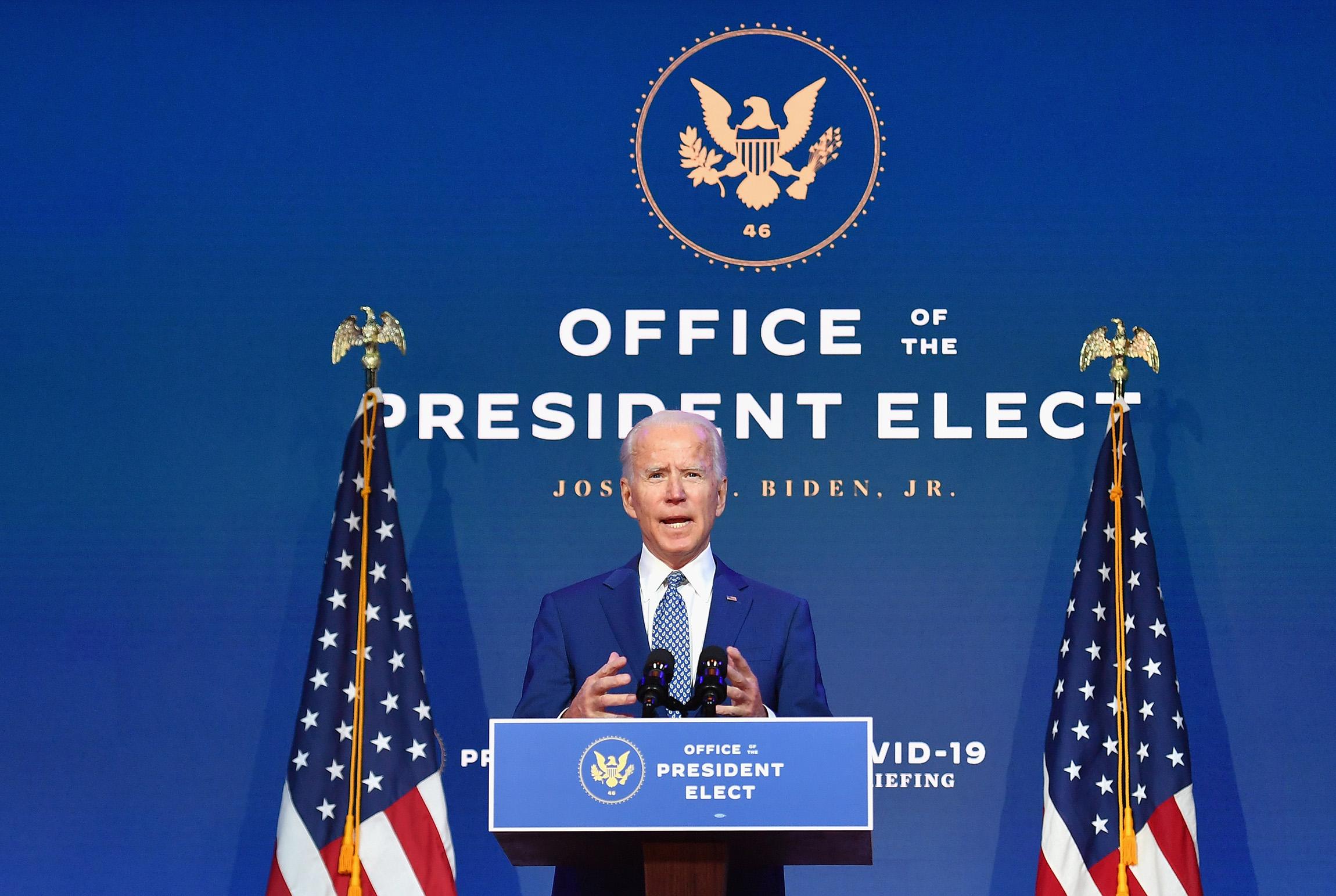 U.S. President-elect Joe Biden delivers remarks at The Queen in Wilmington, Delaware, on November 9.