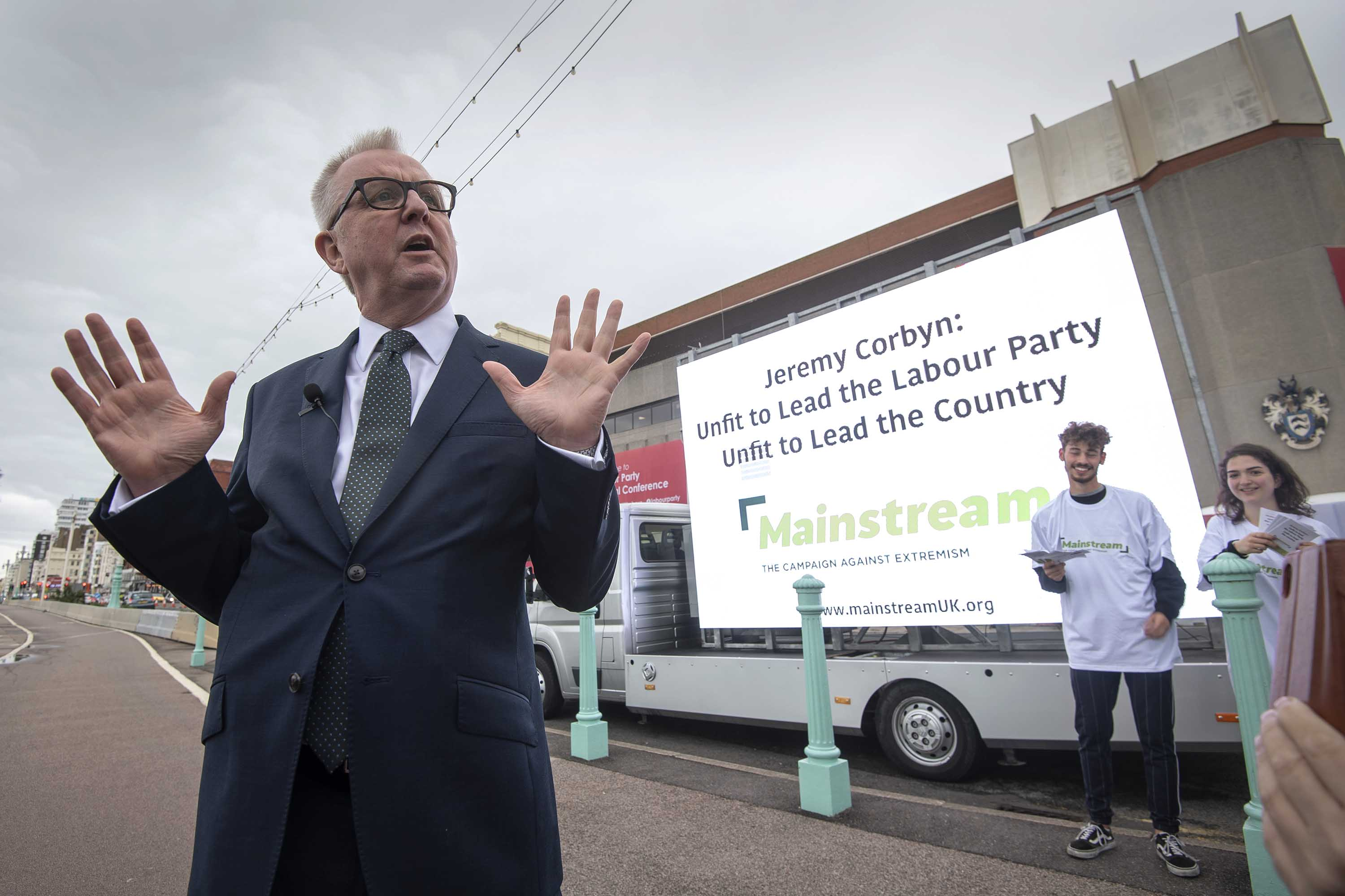 Former Labour MP Ian Austin speaks outside the Labour Party Conference in Brighton, England on September 22. Photo: Victoria Jones/PA Images via Getty Images