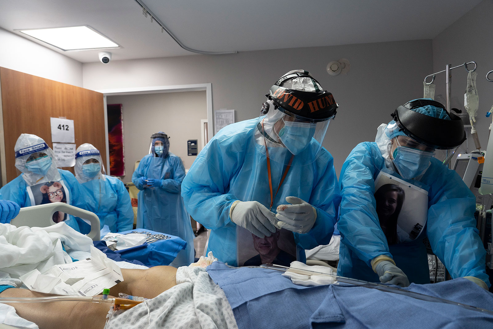 Medical staff treat a coronavirus patient at United Memorial Medical Center in Houston, Texas, on November 14.
