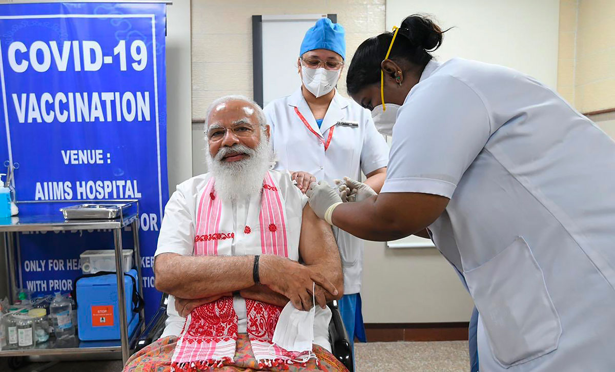 Indian Prime Minister Narendra Modi is administered a Covid-19 vaccine in New Delhi, India on March 1.