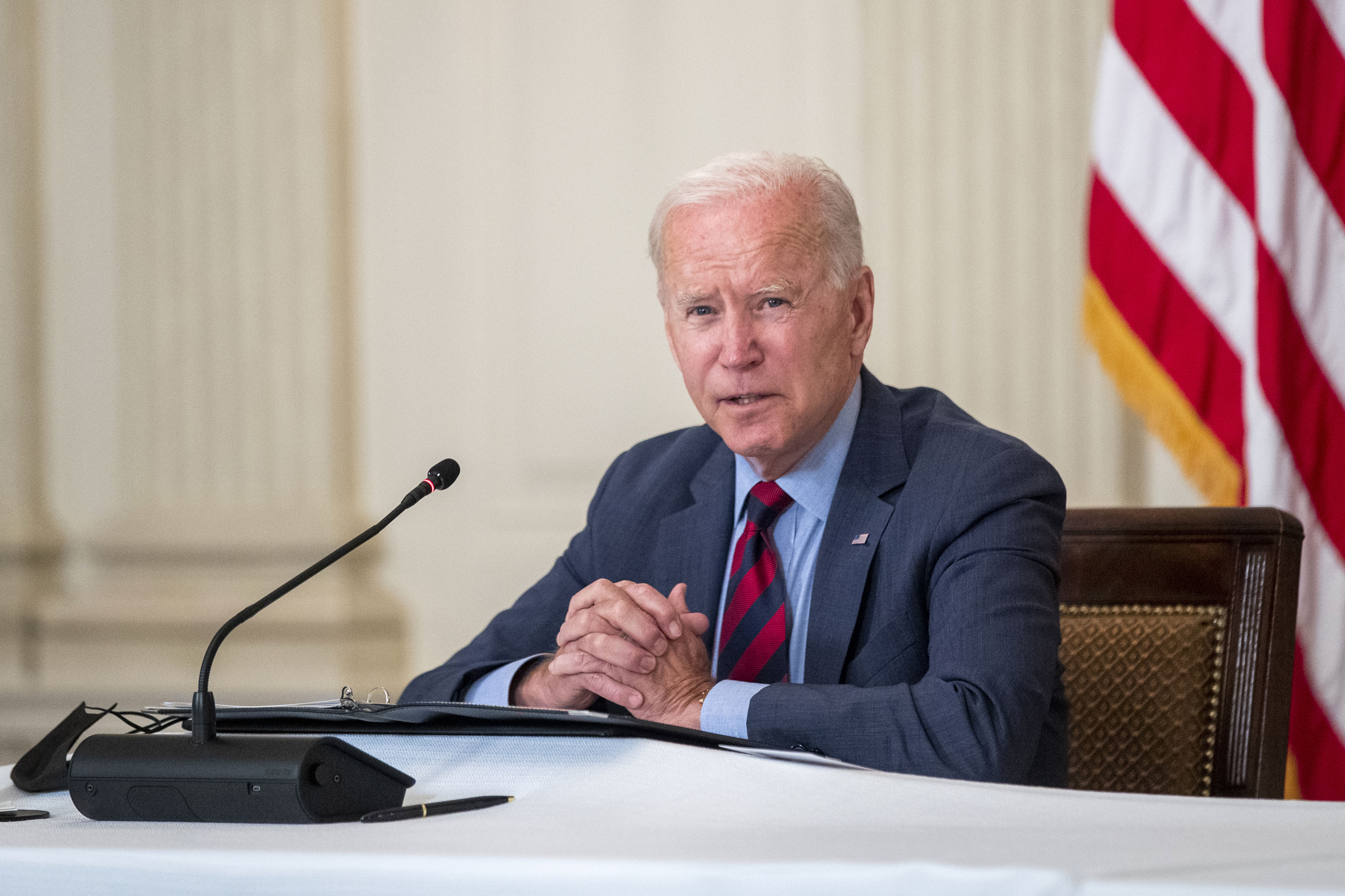 US President Joe Biden speaks during a meeting at the White House on August 3, 2021.