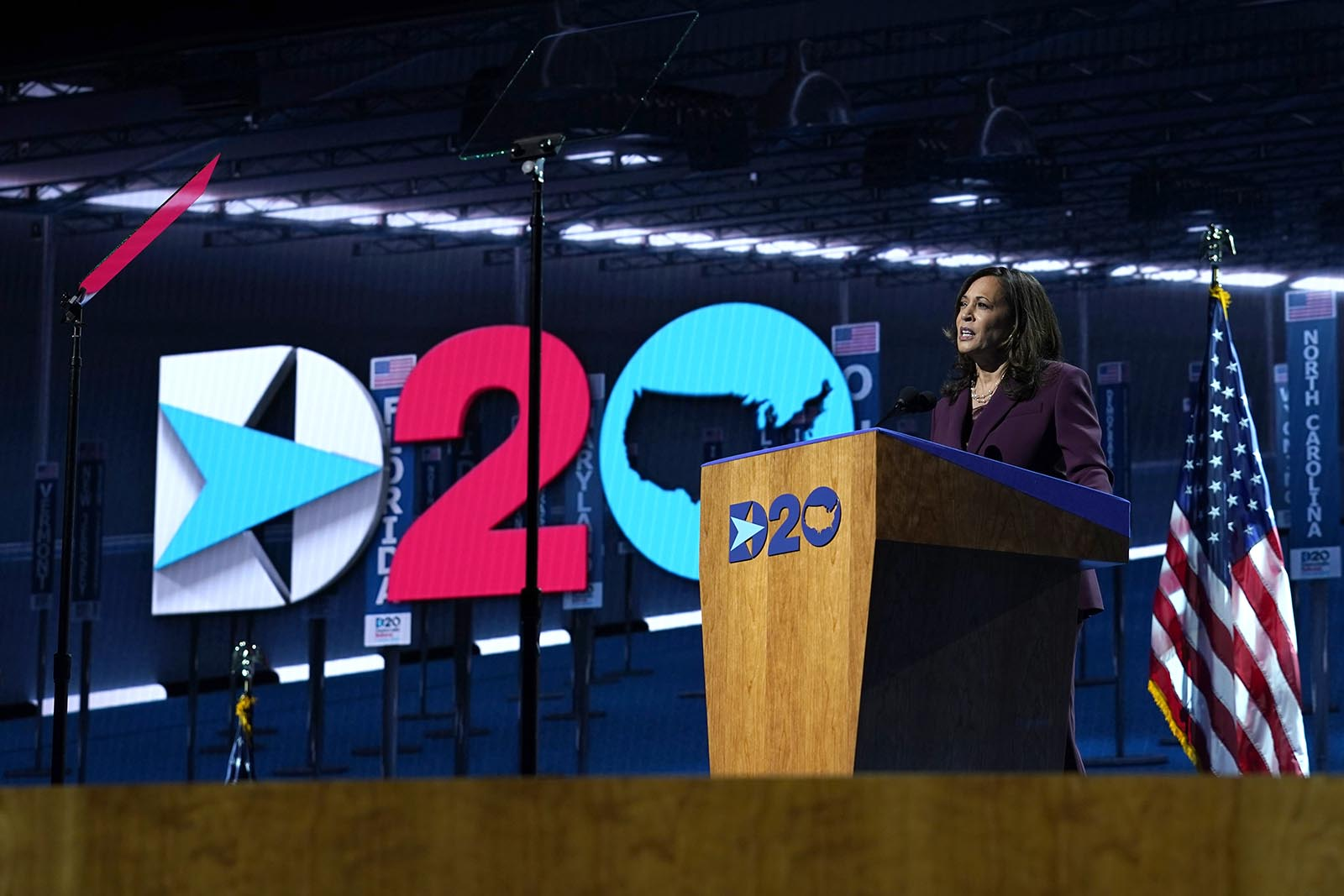 Democratic vice presidential candidate Sen. Kamala Harris speaks during the third day of the Democratic National Convention, Wednesday, Aug. 19.