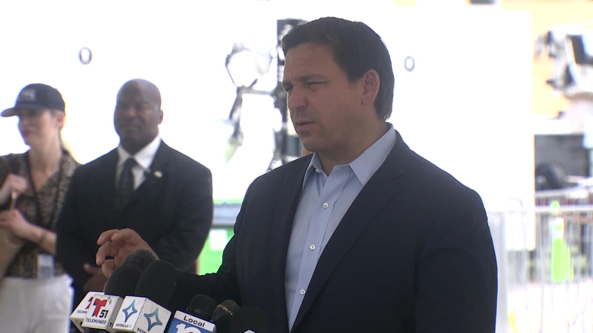 Florida Gov. Ron DeSantis speaks during a press briefing in Surfside, Florida, on July 5.