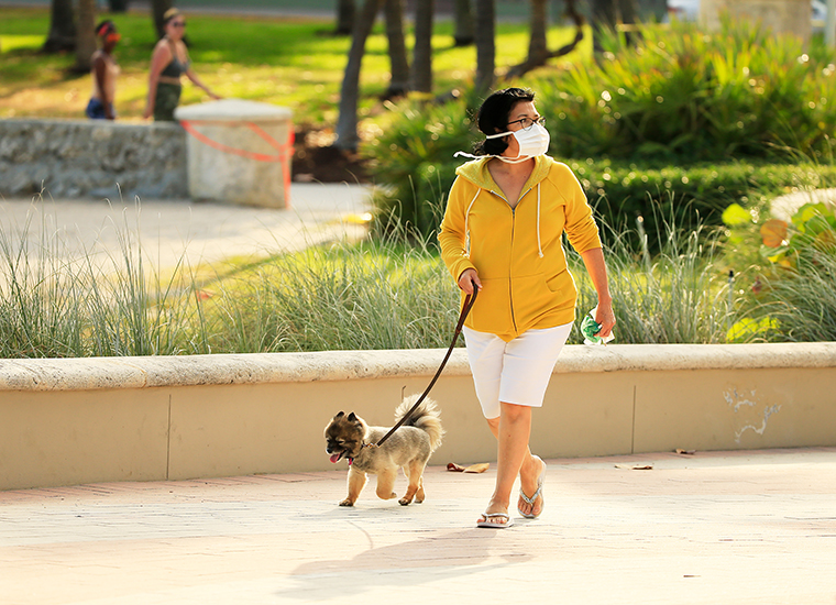 A woman wearing a mask walks her dog on the boardwalk on Thursday, April 02, in Miami Beach, Florida.