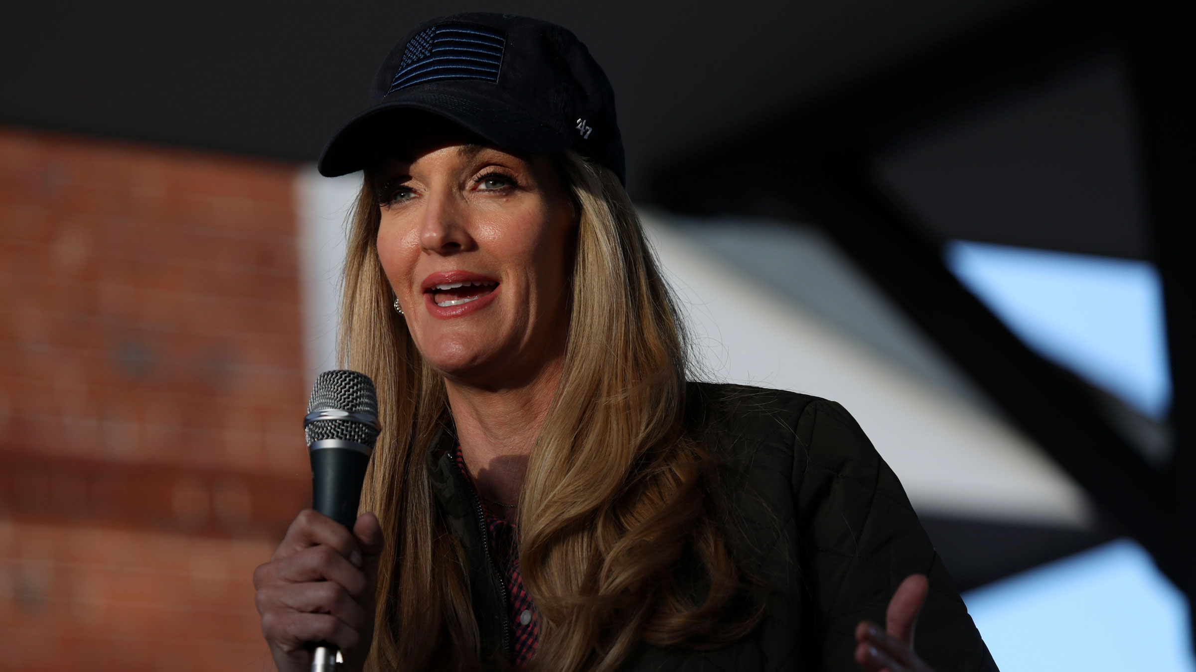 US Sen. Kelly Loeffler speaks to supporters during a rally in Cartersville, Georgia, on Sunday.