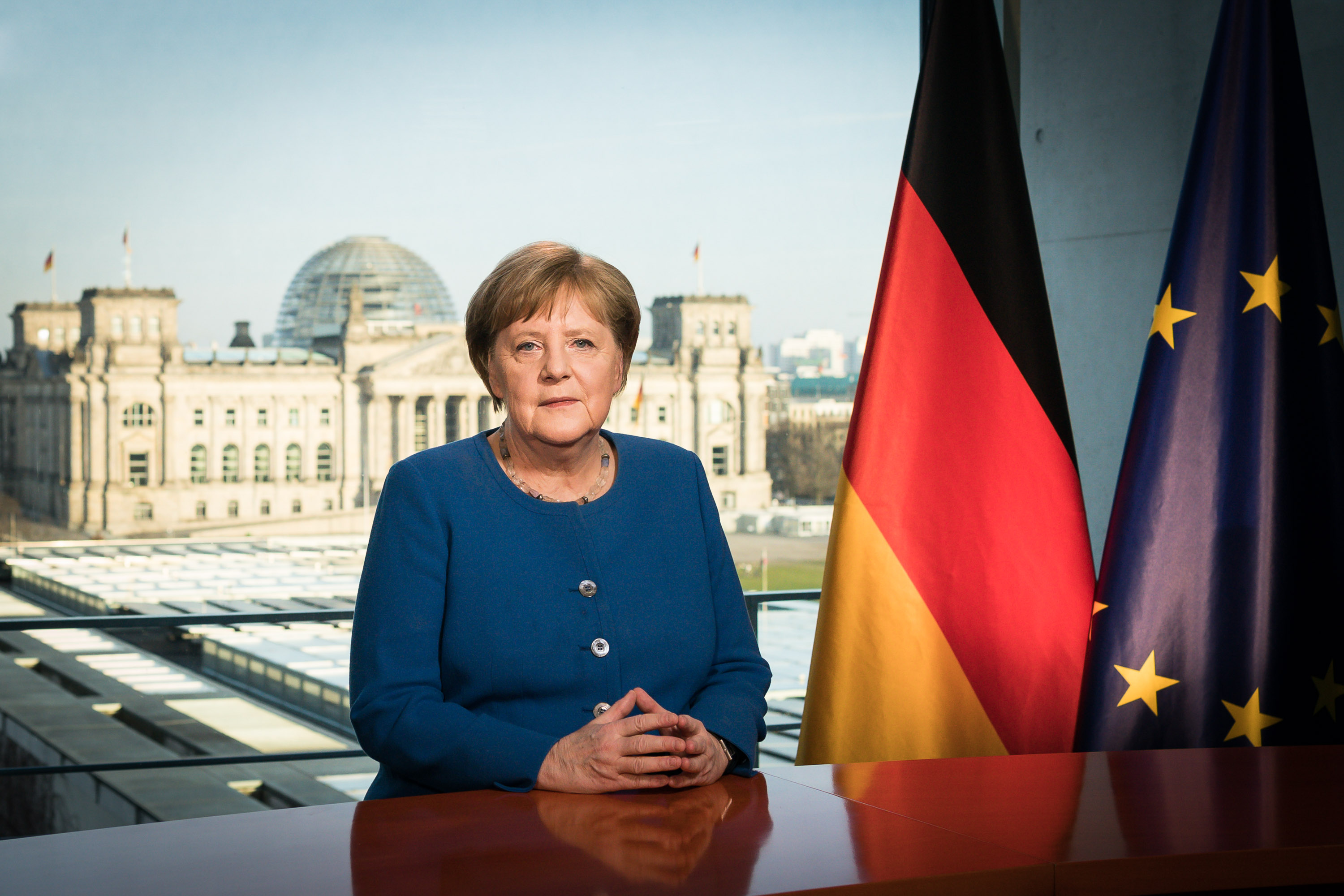 German Chancellor Angela Merkel addresses the nation via a video statement about the ongoing Covid-19 pandemic on March 18, 2020 in Berlin, Germany.