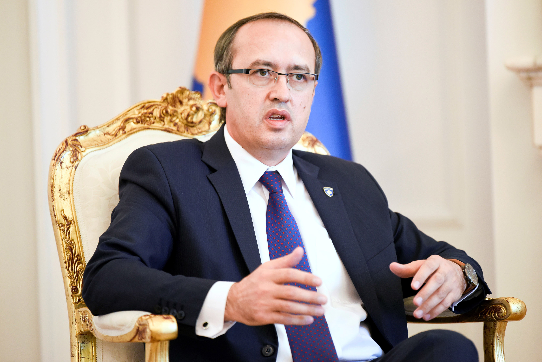 Kosovo Prime Minister Avdullah Hoti speaks during a news conference in Pristina, Kosovo, on July 24.
