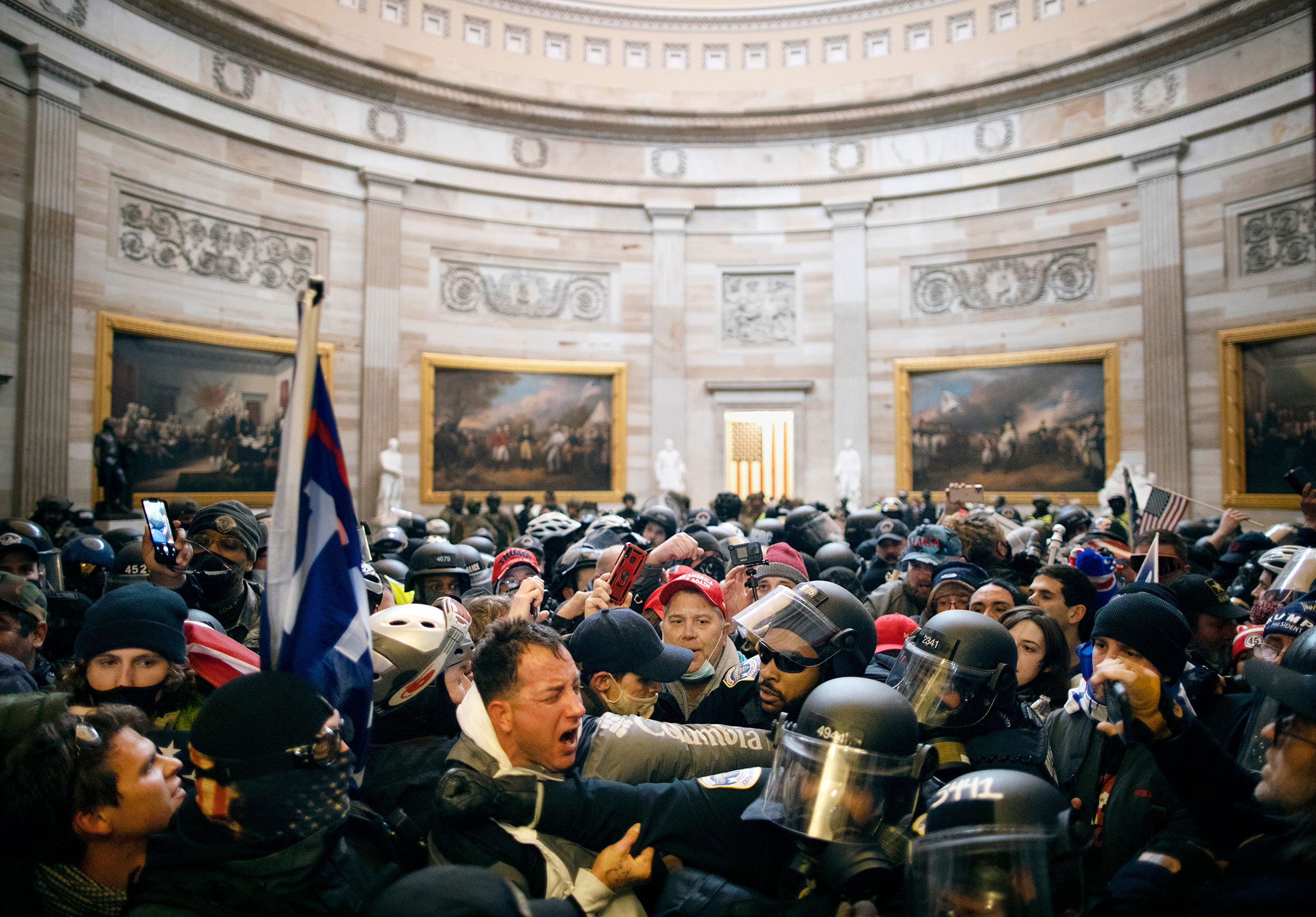 Rioters clash with police in the US Capitol building on January 6.