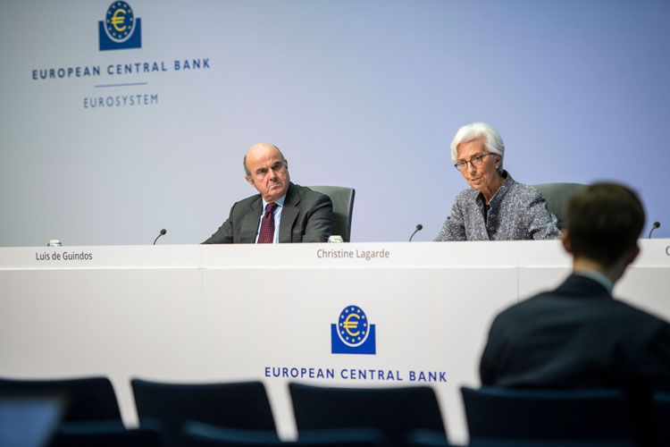 Christine Lagarde, President of the European Central Bank (ECB), and Vice president Luis de Guindos speak to the media following a meeting of the ECB governing board at ECB headquarters on March 12, in Frankfurt, Germany.