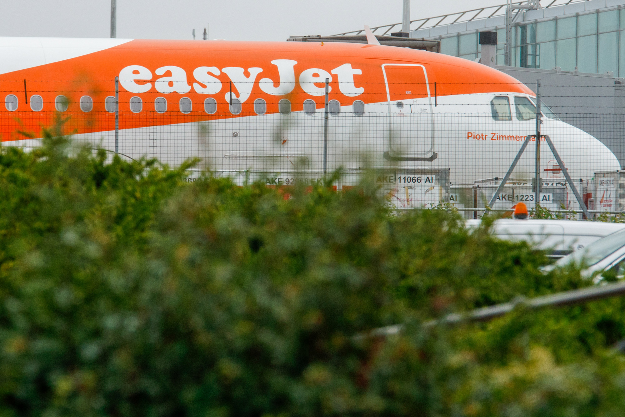 An aircraft, operated by EasyJet Plc, sits grounded on the tarmac at London Stansted Airport in Stansted, U.K., on July 9.