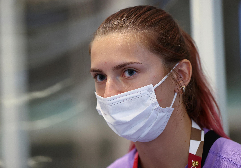 Belarusian sprinter Kristina Timanovskaya is seen at Haneda International Airport in Tokyo, on August 1.