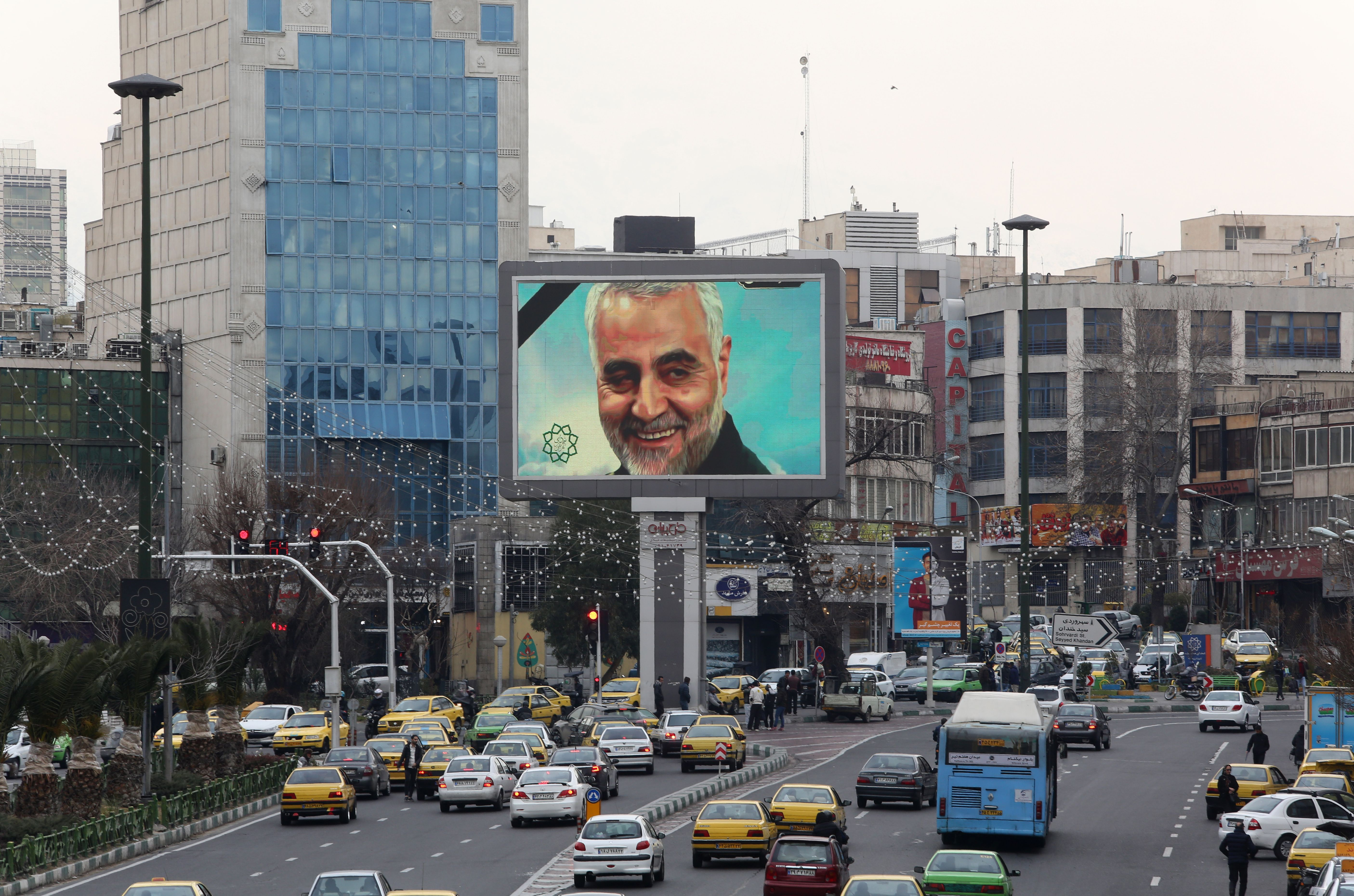 A billboard with a portrait of Qasem Soleimani is displayed in the Iranian capital of Tehran.