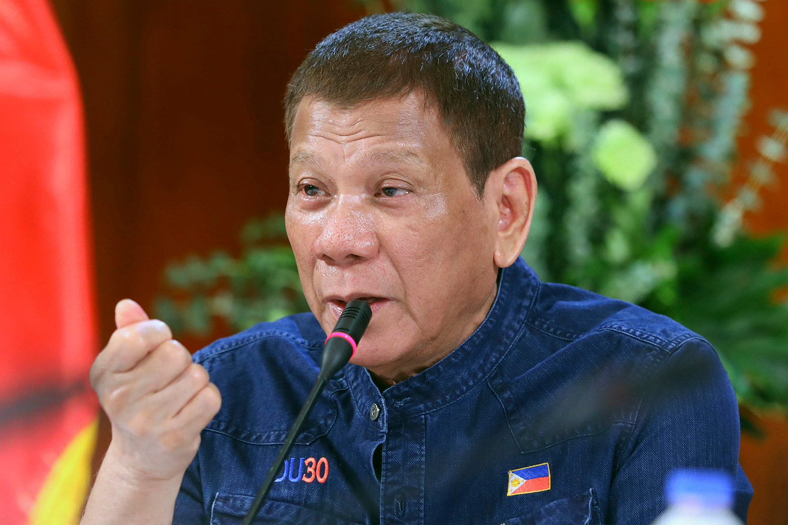 In this photo provided by the Malacanang Presidential Photographers Division, Philippine President Rodrigo Duterte meets members of the Inter-Agency Task Force on the Emerging Infectious Diseases at the Malacanang presidential palace in Manila, Philippines on July 30.
