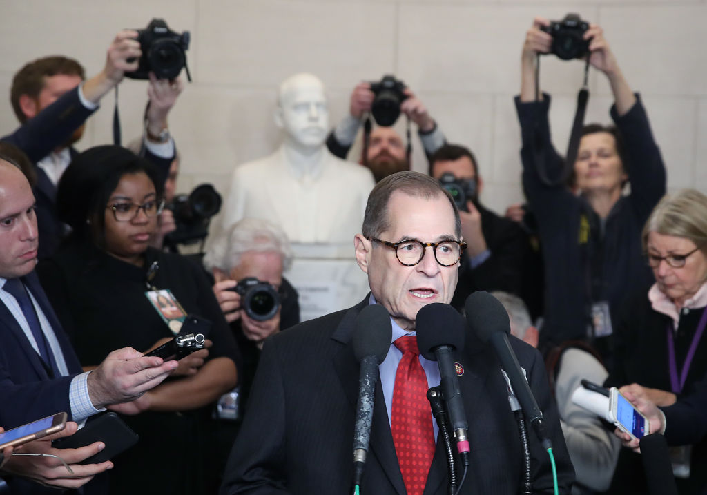 House Judiciary Committee chairman Jerrold Nadler speaks to the media after the Committee voted on the two articles of impeachment against President Trump on December 13, 2019.