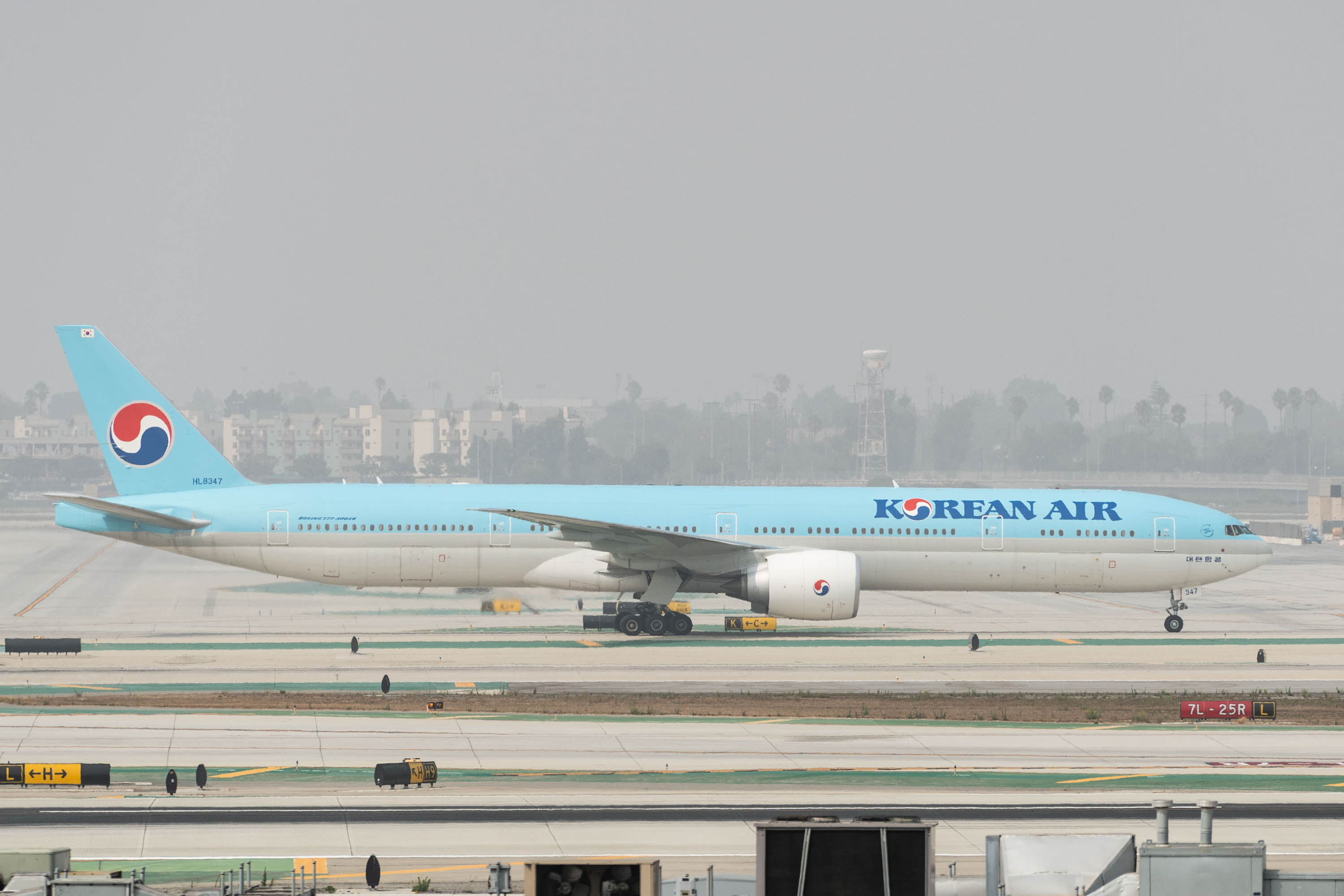 A Korean Air plane arrives at Los Angeles International Airport in California on September 15, 2020.