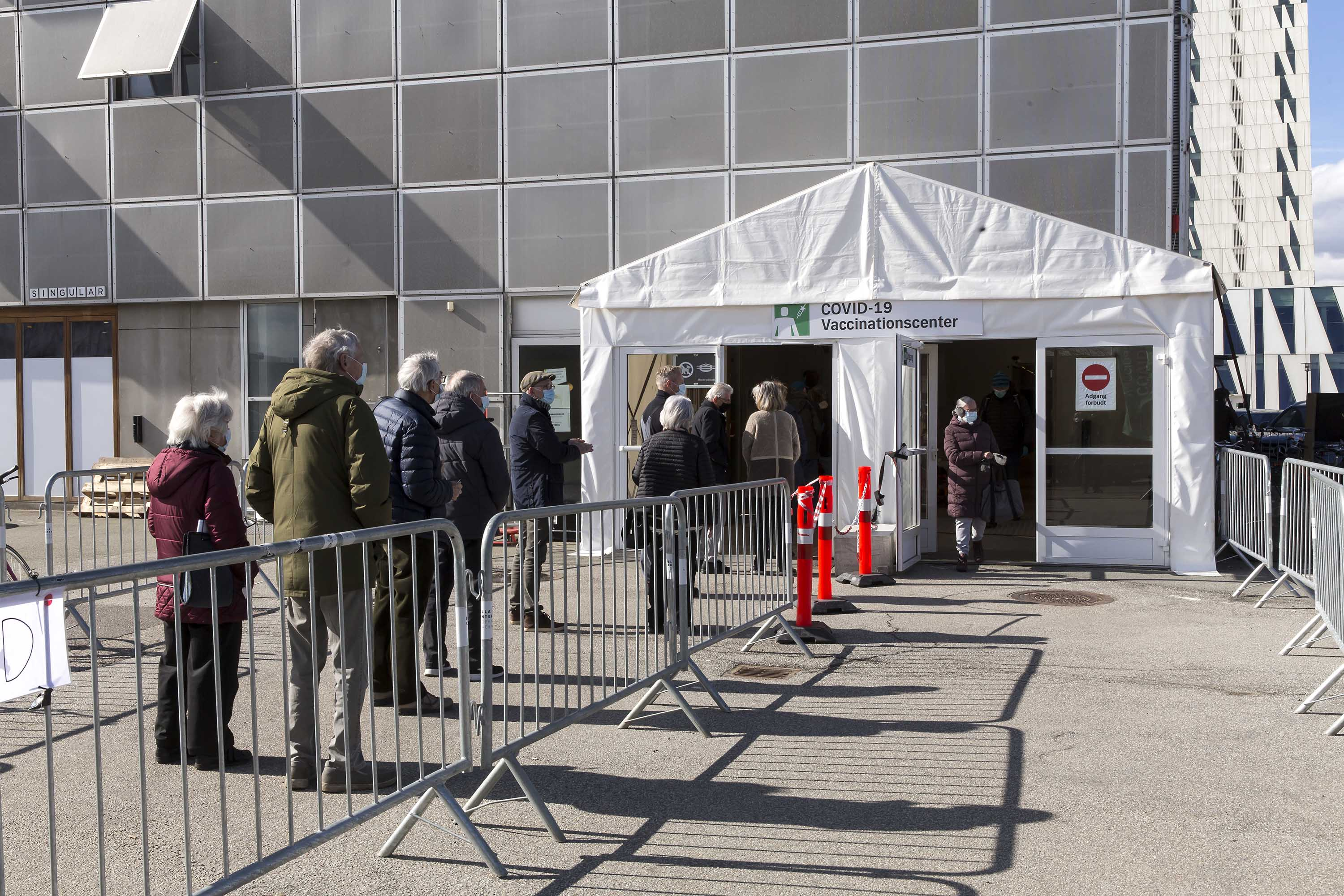 Citizens wait in line for a Covid-19 vaccination in Copenhagen, Denmark, on March 18.