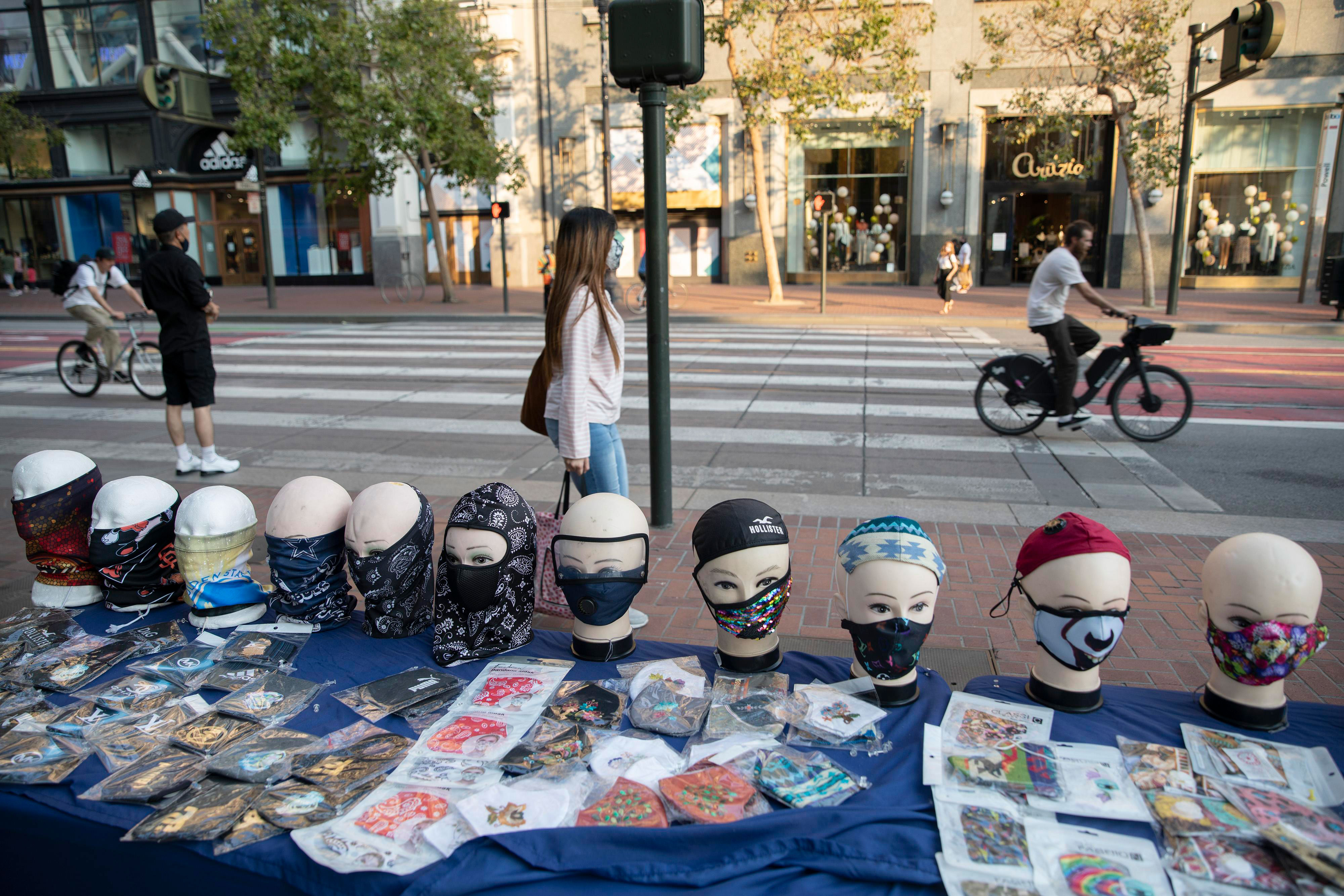 Face masks are for sale on a stand in San Francisco on September 5, 2020.