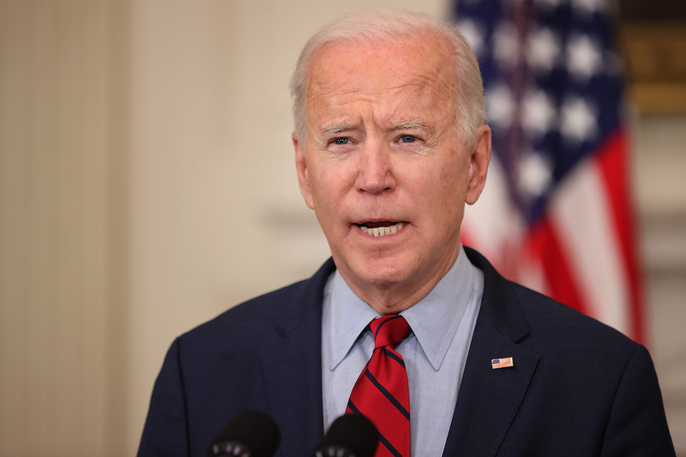 President Joe Biden speaks during a press conference at the White House on March 23, in Washington, DC.