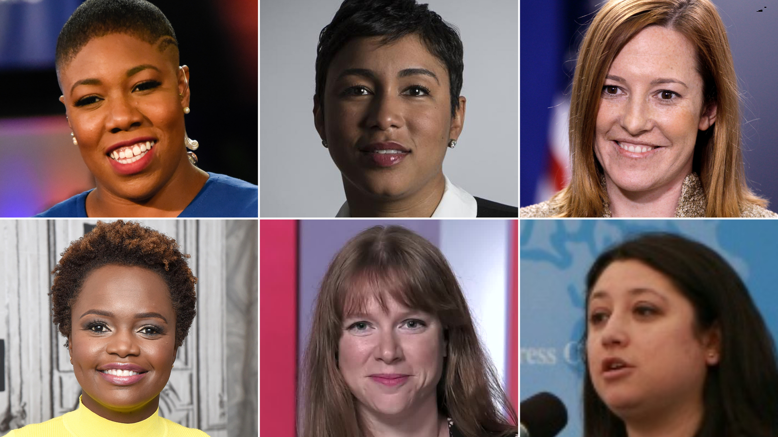 Clockwise from top left: Symone Sanders, Ashley Etienne, Jen Psaki, Pili Tobar, Kate Bedingfield and Karine Jean-Pierre. Not pictured is Elizabeth Alexander.