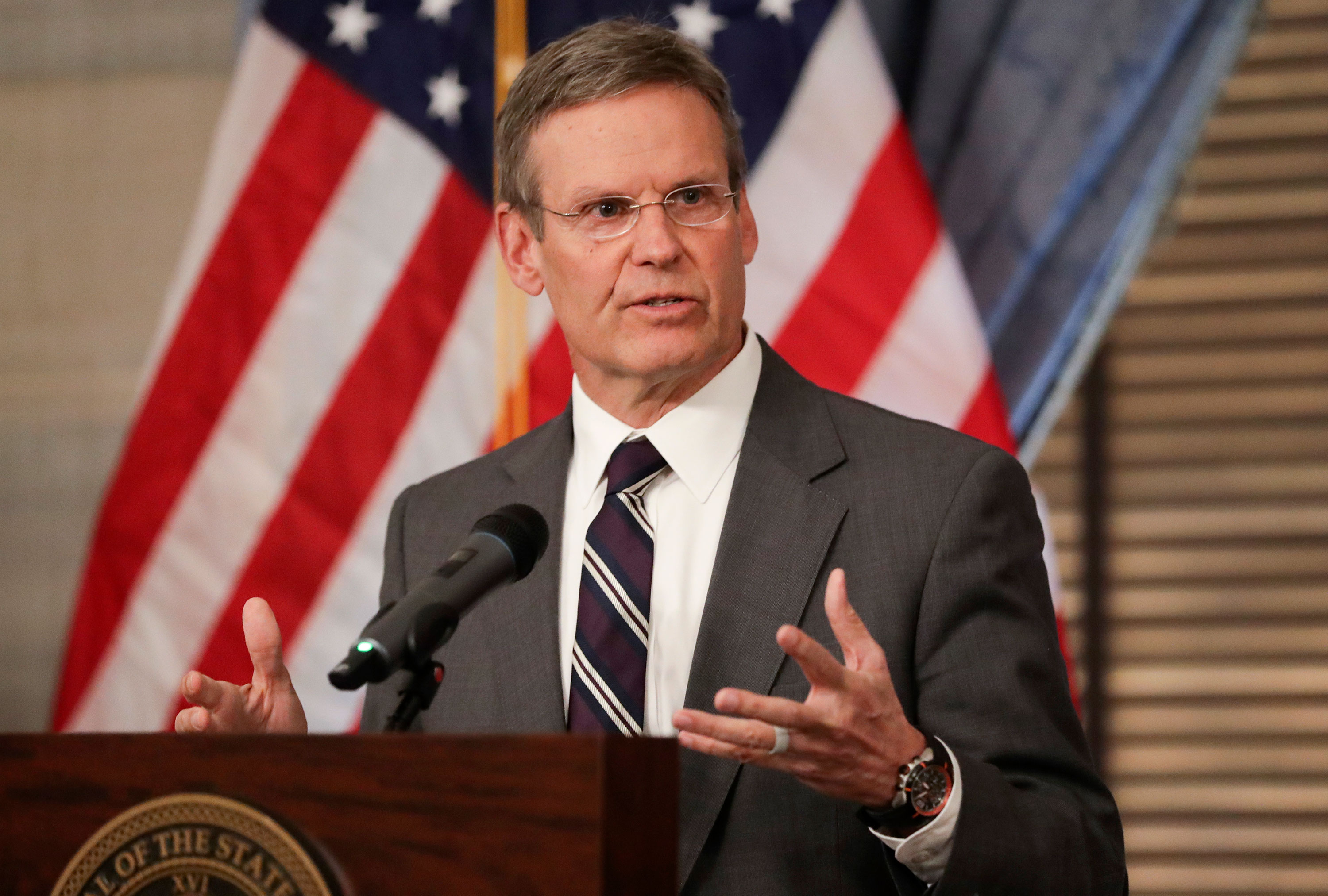 Tennessee Gov. Bill Lee speaks to the press on March 16.