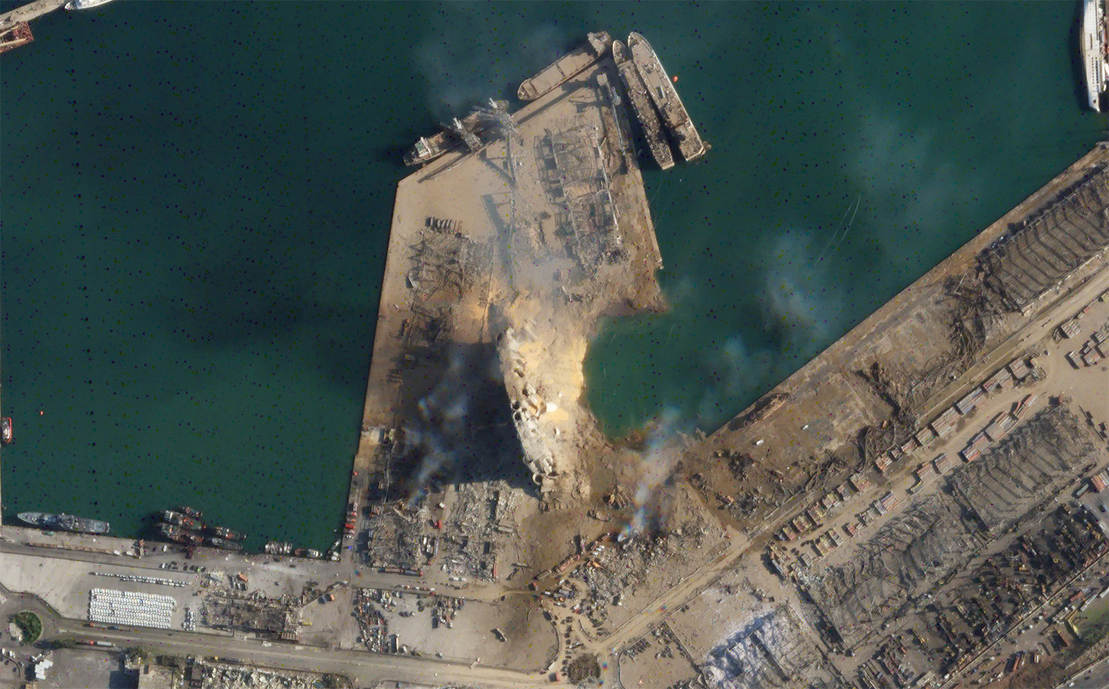This satellite image, obtained by CNN from Planet Labs Inc., shows a massive crater at the site ofTuesday's explosionin Beirut's port.