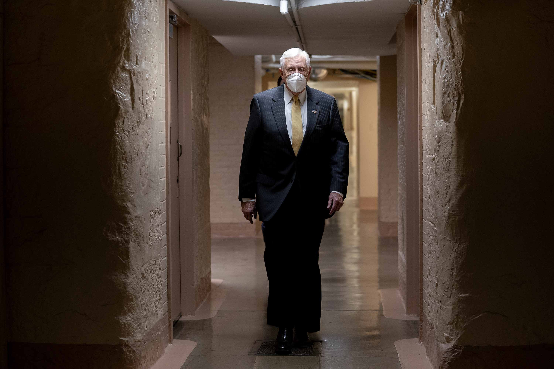House Majority Leader Steny Hoyer walks through the U.S. Capitol on January 12, in Washington, DC.
