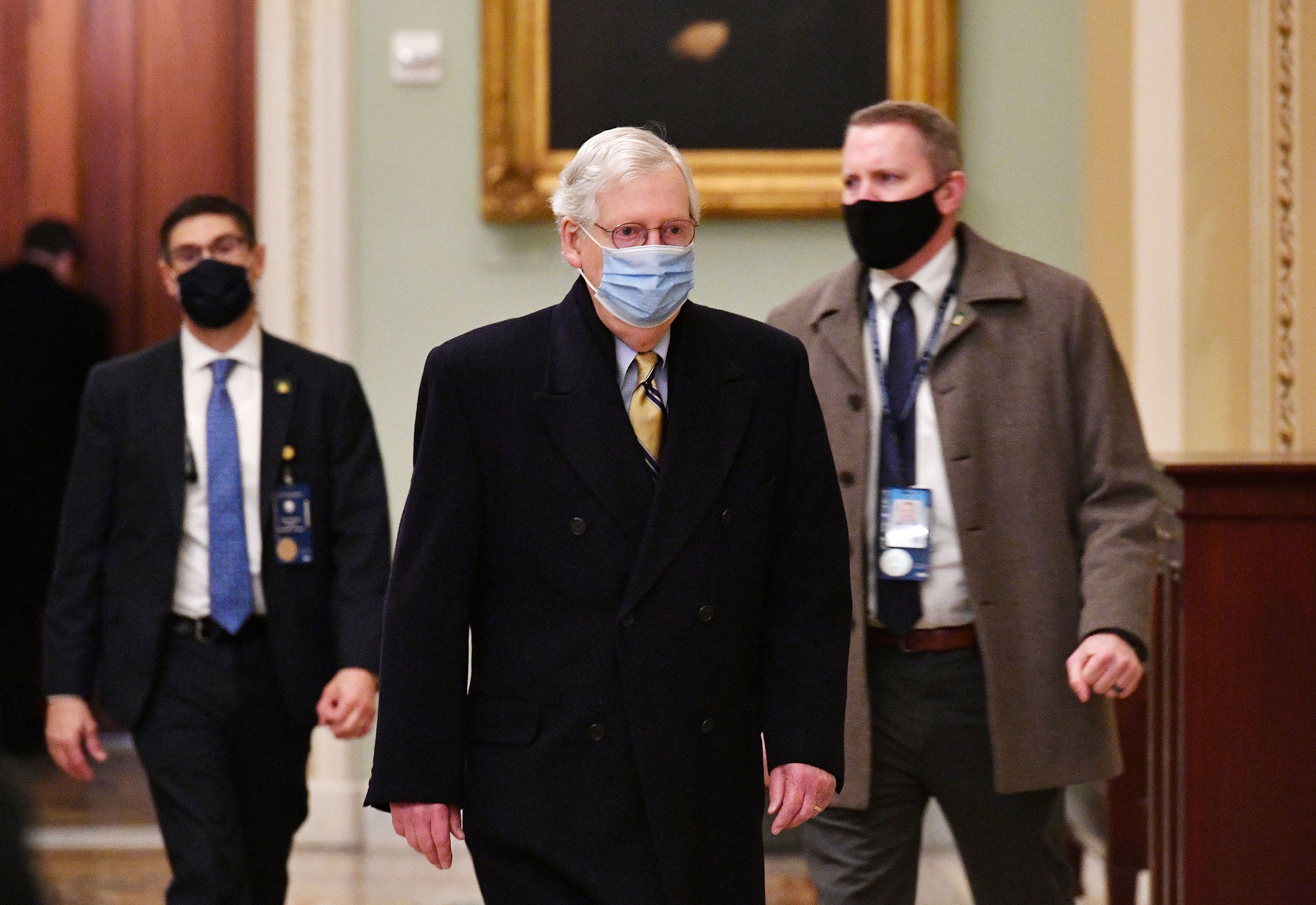 Senate GOP Leader Mitch McConnell arrives at the Capitol on February 13.