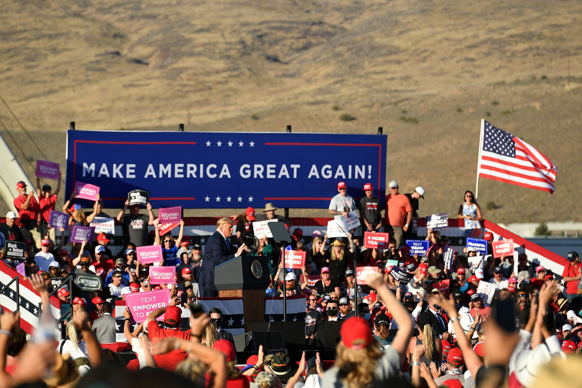 President Donald Trump speaks during a rally at Carson City Airport in Carson City, Nevada on October 18.