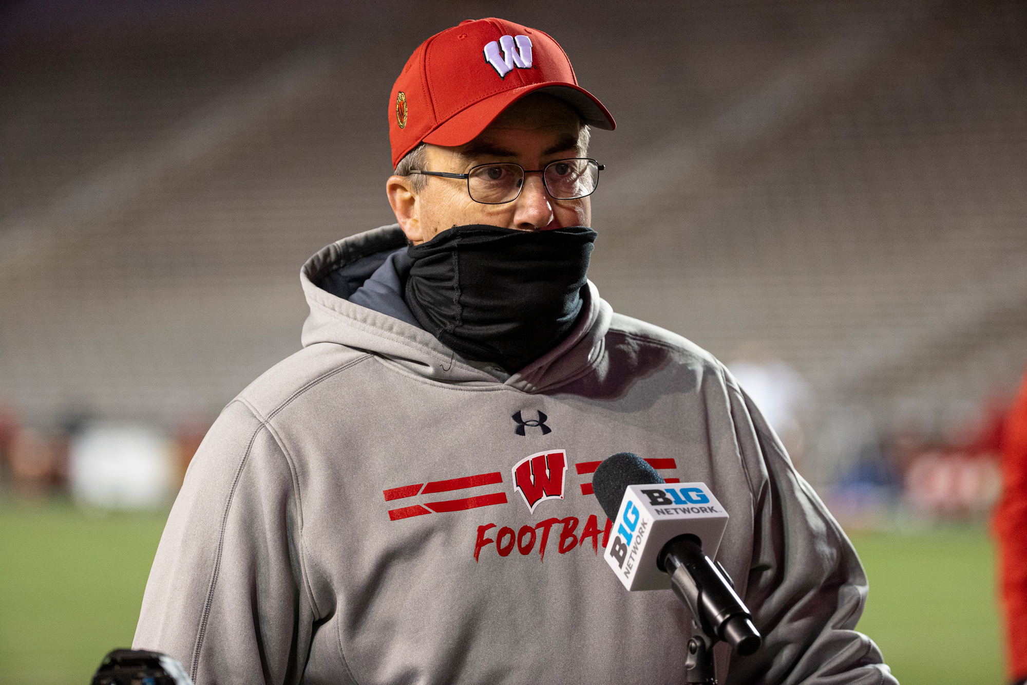 Wisconsin Badgers Head Coach Paul Chryst does a post-game interview after an NCAA college football game against the Illinois Fighting Illini on October 23 in Madison, Wisconsin.