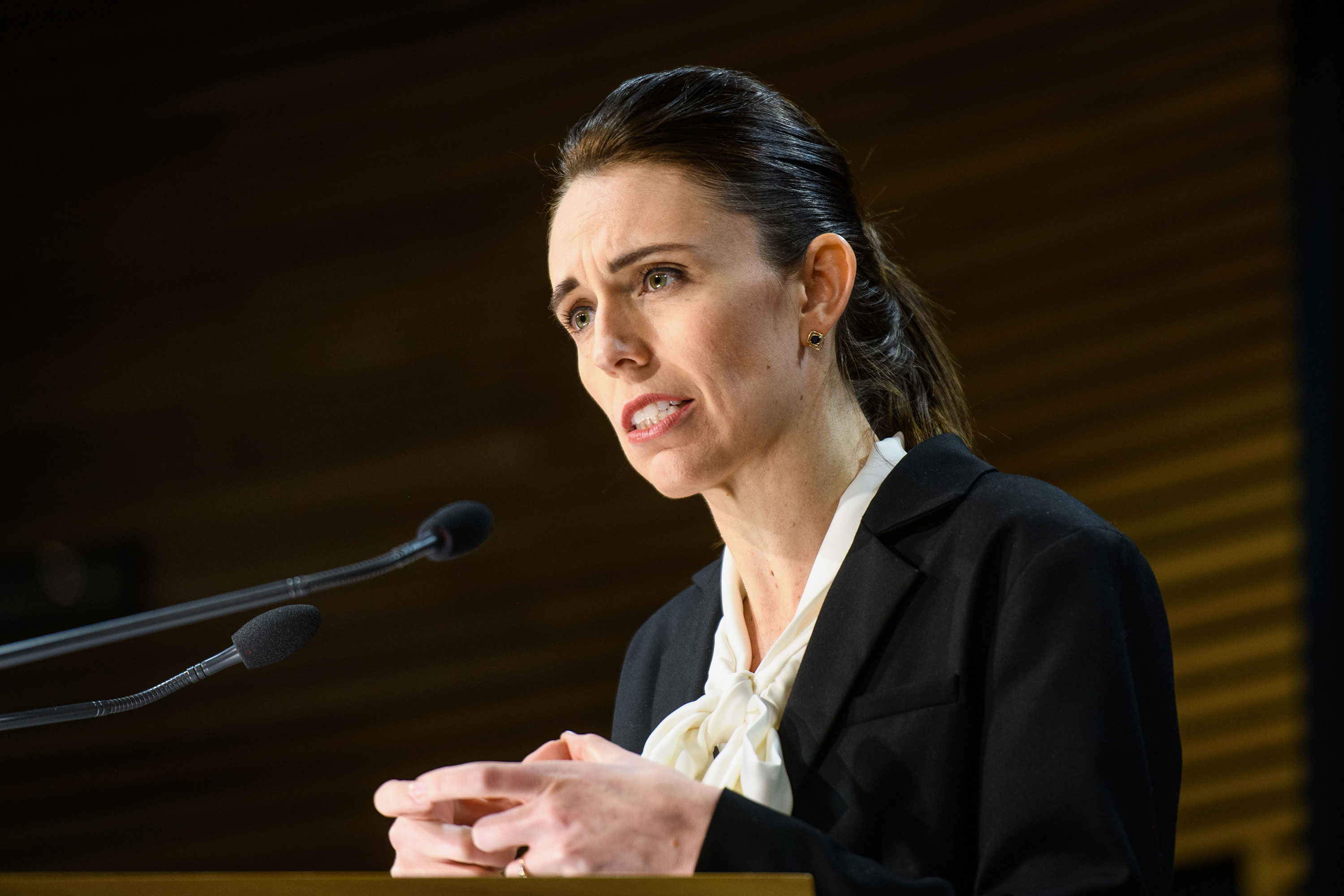 Prime Minister Jacinda Ardern speaks with media at a Covid-19 briefing on August 13 in Wellington, New Zealand.