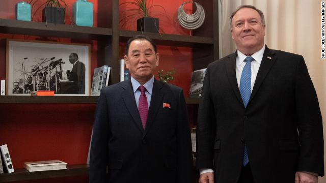 US Secretary of State Mike Pompeo welcomes North Korea's  Yong Chol prior to a meeting in Washington, DC, on January 18.