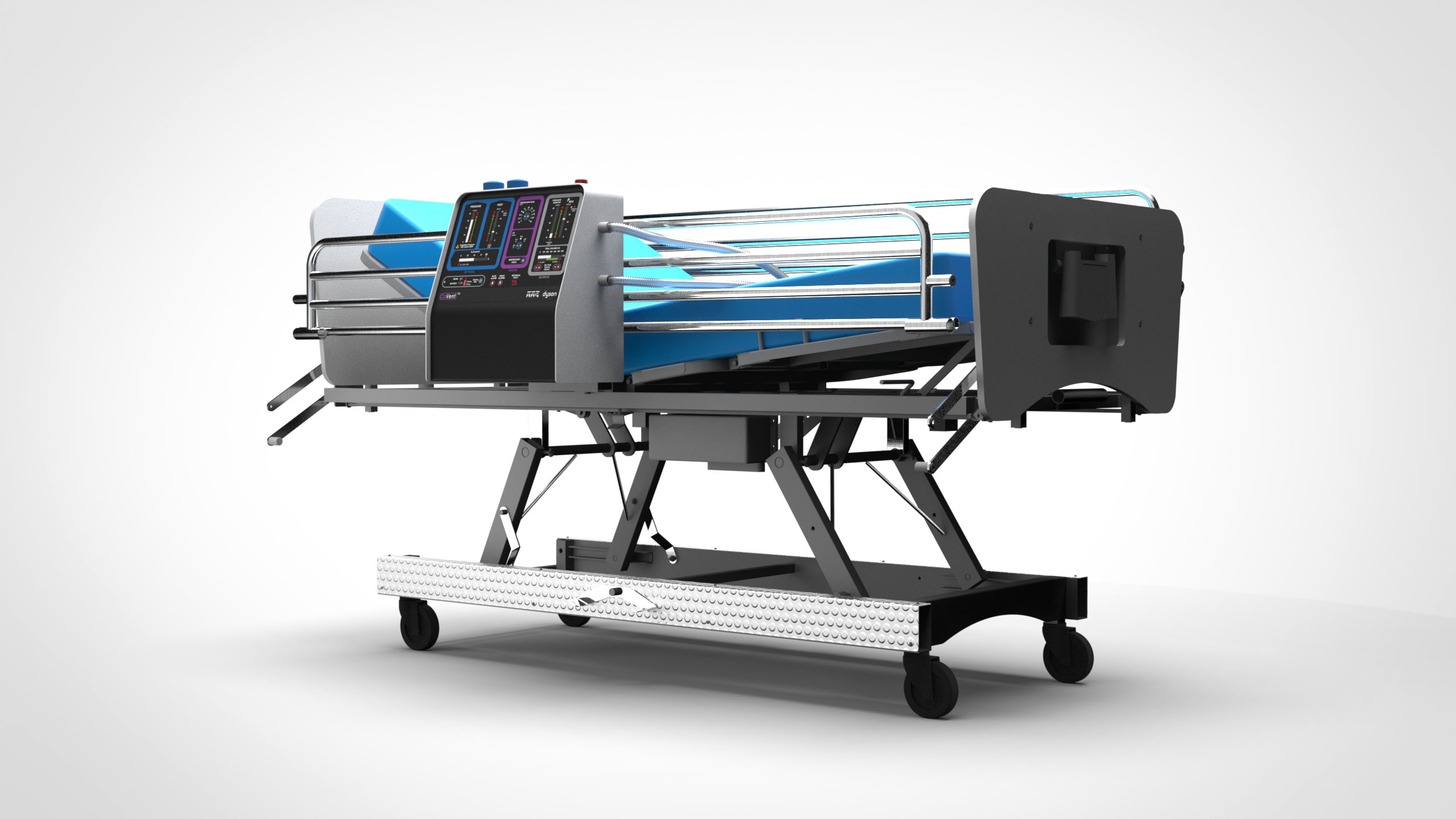 "Dyson's new ventilator, called the ""CoVent,"" attached to a hospital bed, in a handout photo from Dyson."