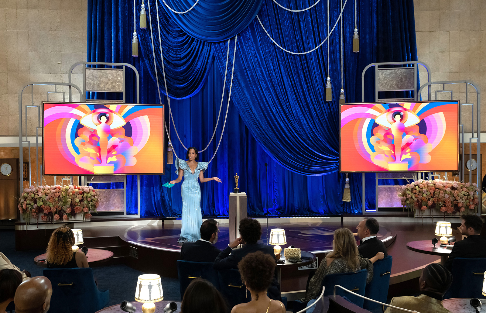 In this handout photo provided by A.M.P.A.S., Regina King speaks onstage during the 93rd Annual Academy Awards at Union Station on April 25 in Los Angeles.