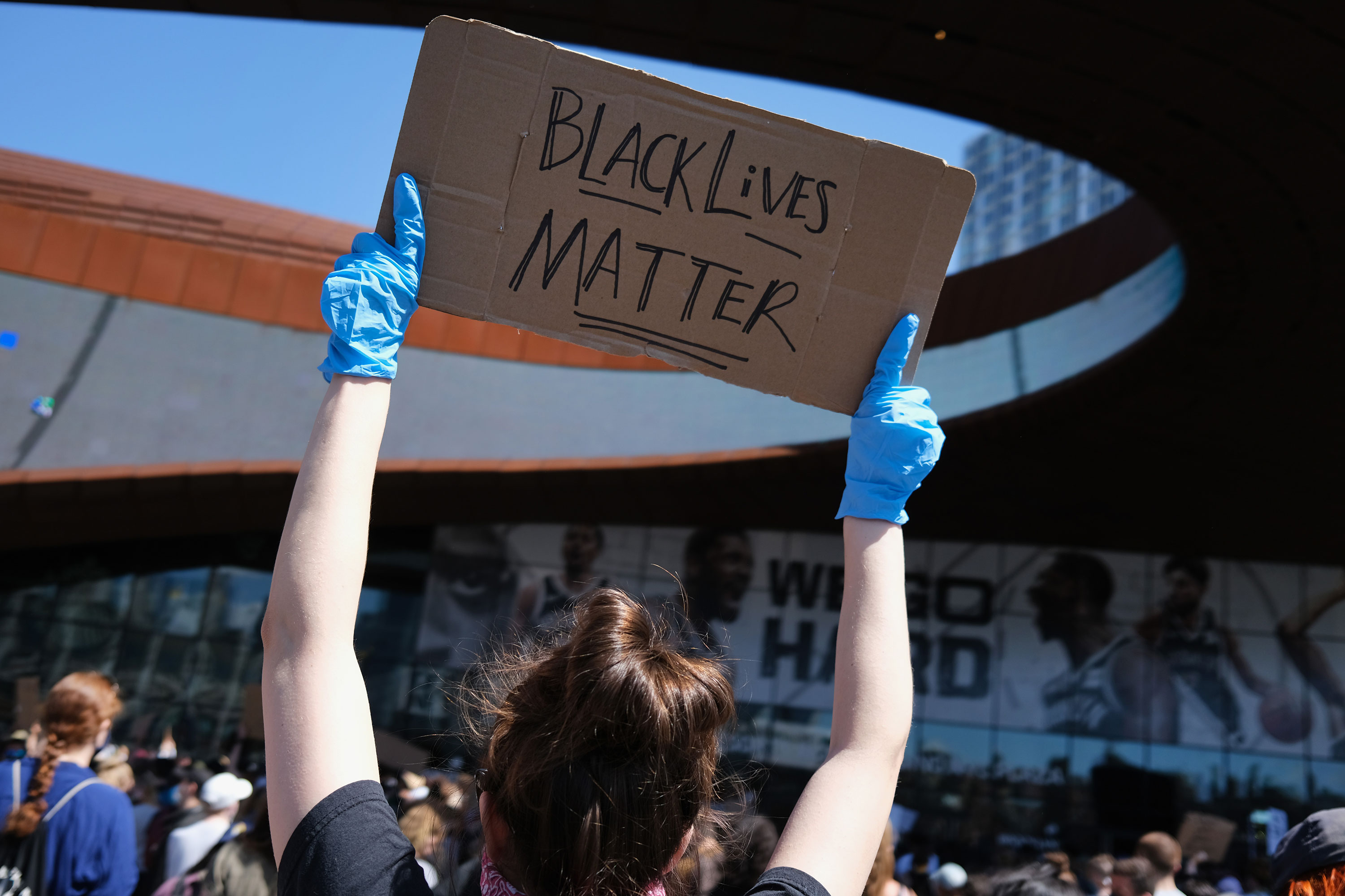 Protesters gather at Barclays Center in Brooklyn on May 31 in New York City.