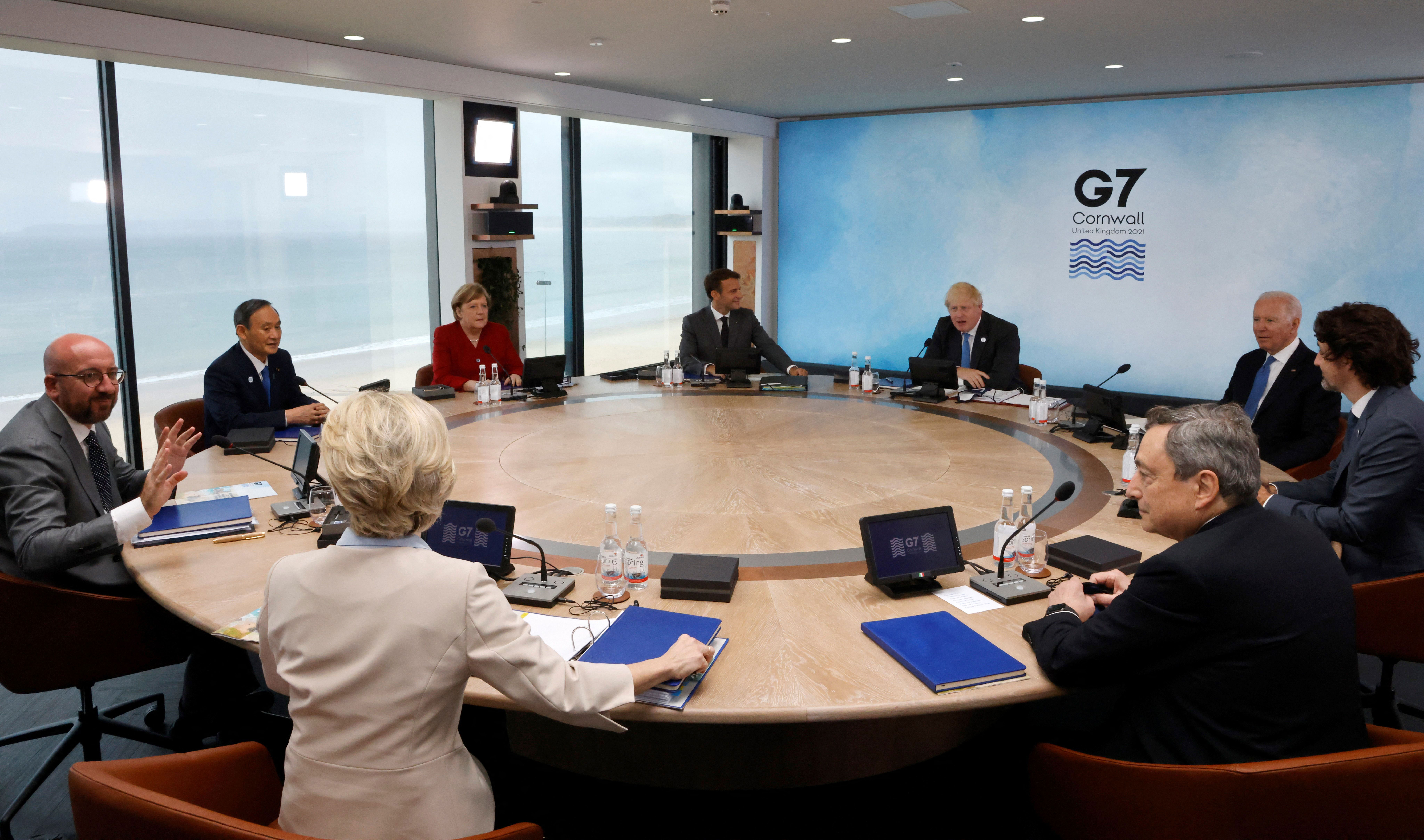 President of the European Council Charles Michel, left, speaks with leaders at the G7 summit in Carbis Bay, England, on June 11.