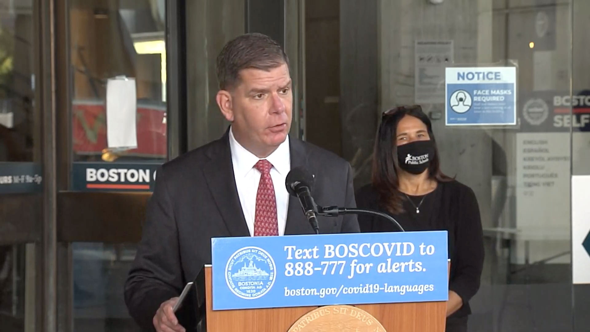 Mayor Marty Walsh speaks at a press conference in Boston on October 7.