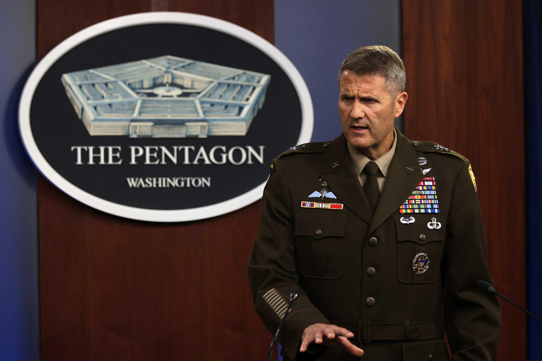 Maj. Gen. Hank Taylor speaks during a news briefing at the Pentagon on August 16, in Arlington, Virginia.