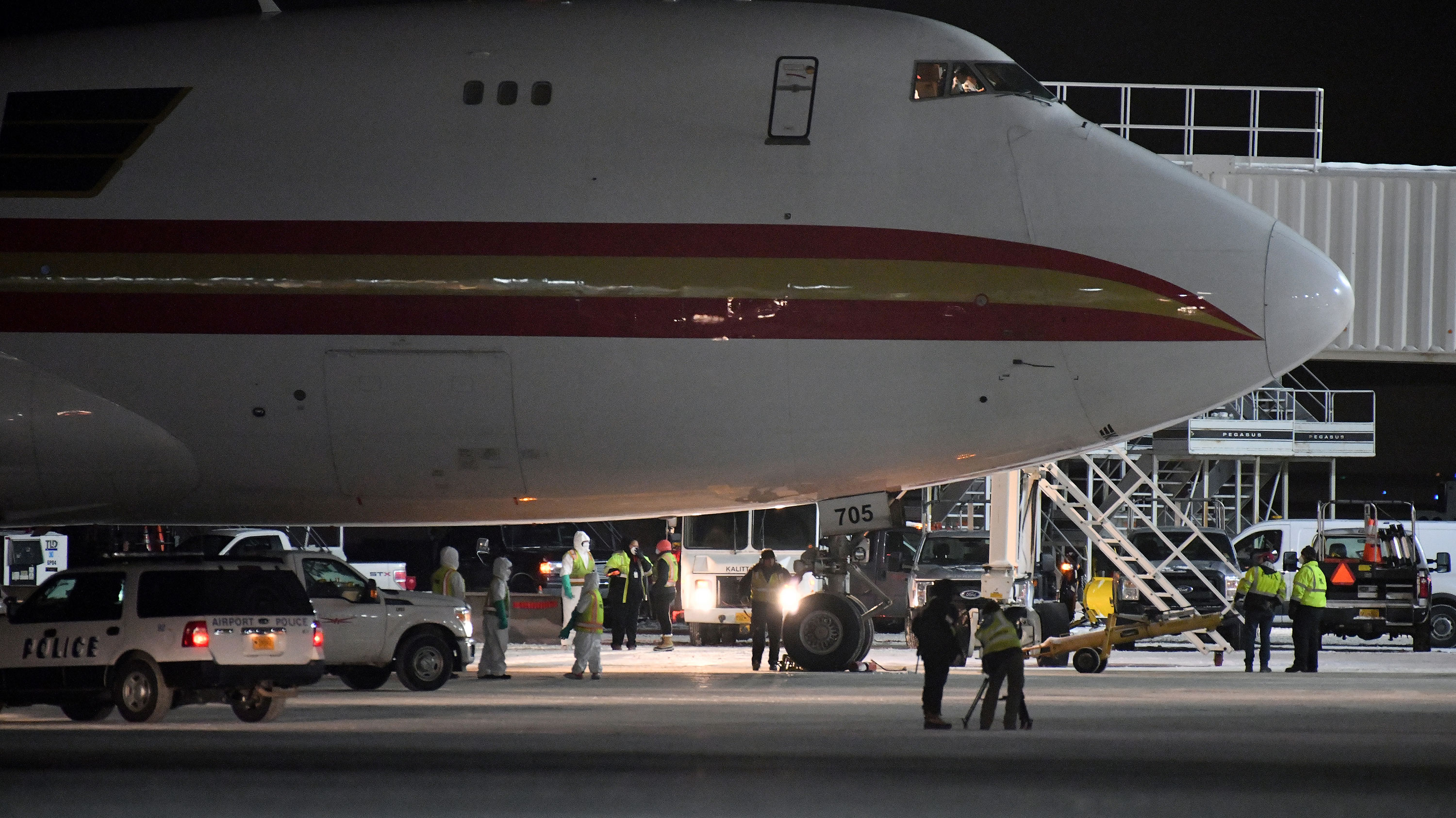 A group of Americans flew on a chartered flight from Wuhan, China, to California on Wednesday.