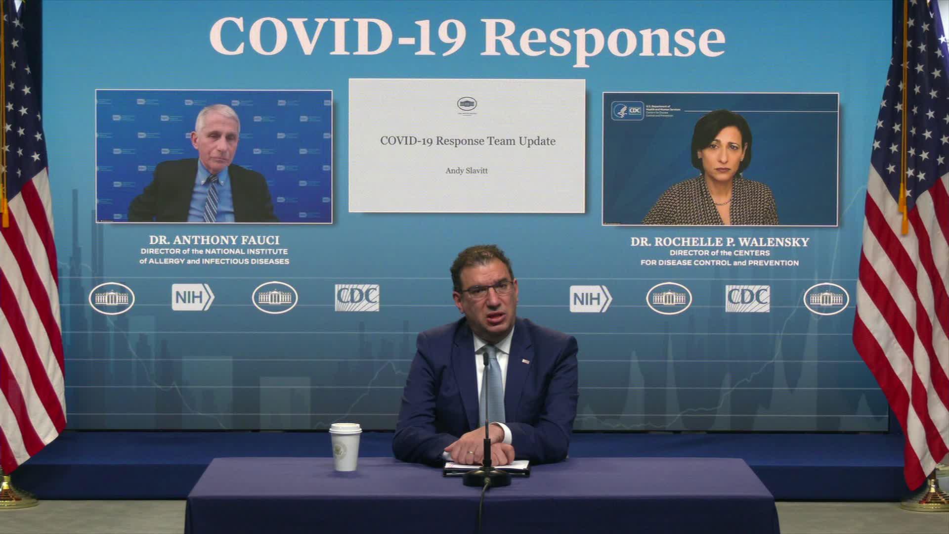 White House senior Covid-19 adviser Andy Slavitt, center, on March 3.
