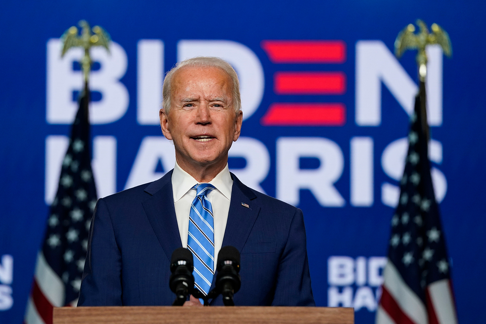 Democratic presidential nominee Joe Biden speaks one day after Americans voted in the presidential election, in Wilmington, Delaware, on November 04.