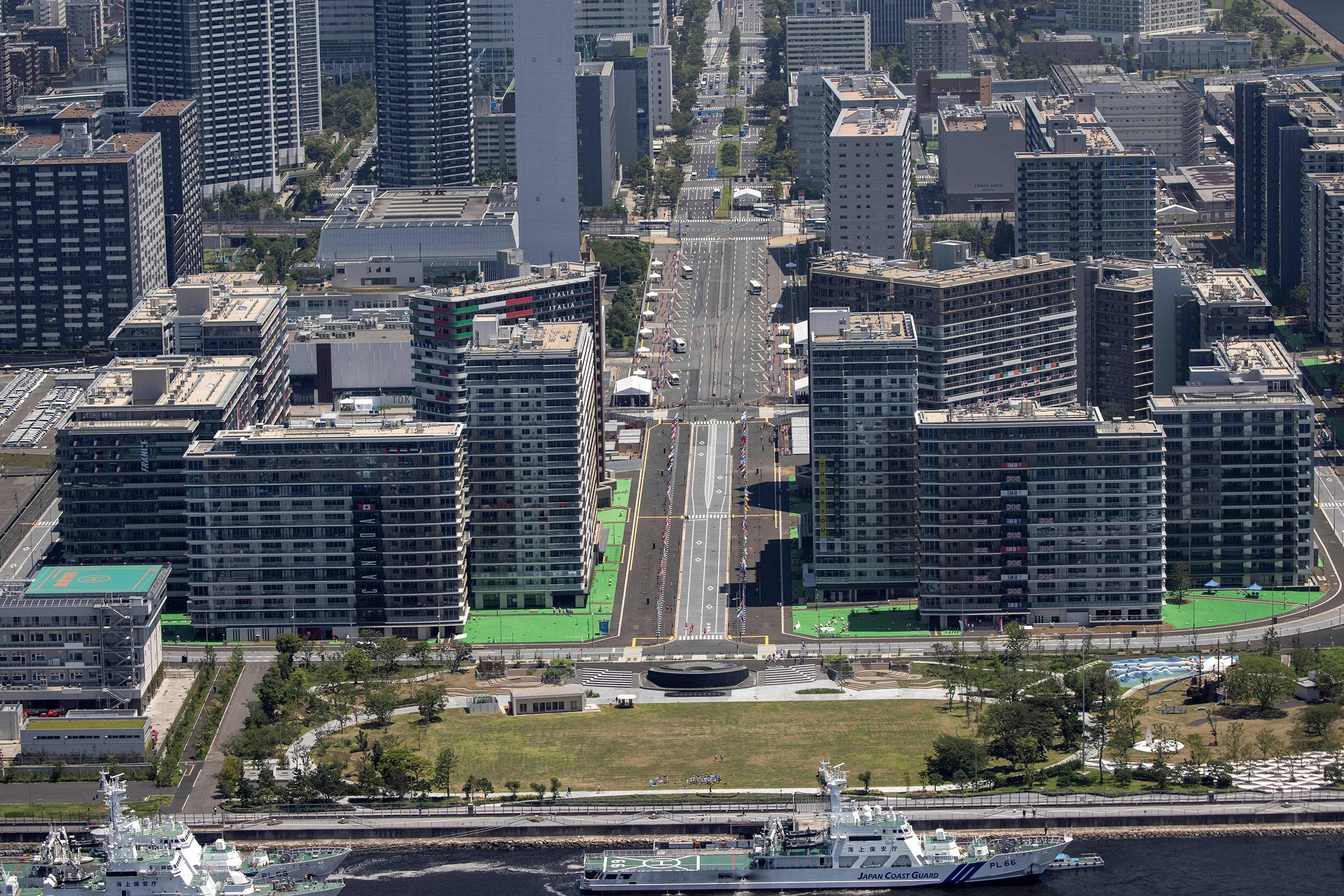 An aerial view of the Tokyo Olympic Village on July 19.