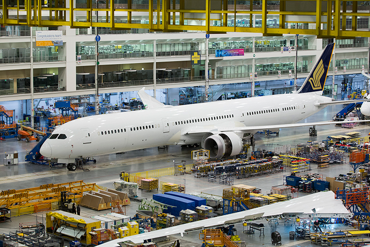Boeing has rolled out the first 787-10 Dreamliner built for Singapore Airlines at its Final Assembly facility in North Charleston, South Carolina.