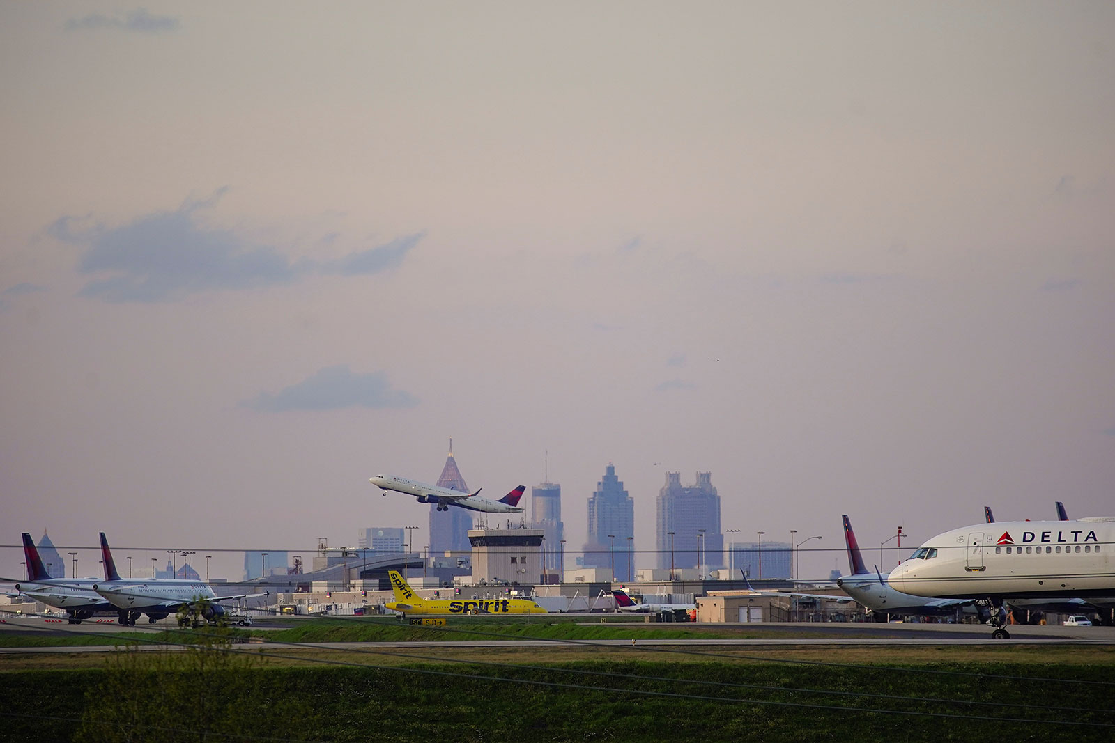 Planes take off from Atlanta Hartsfield-Jackson International Airport.