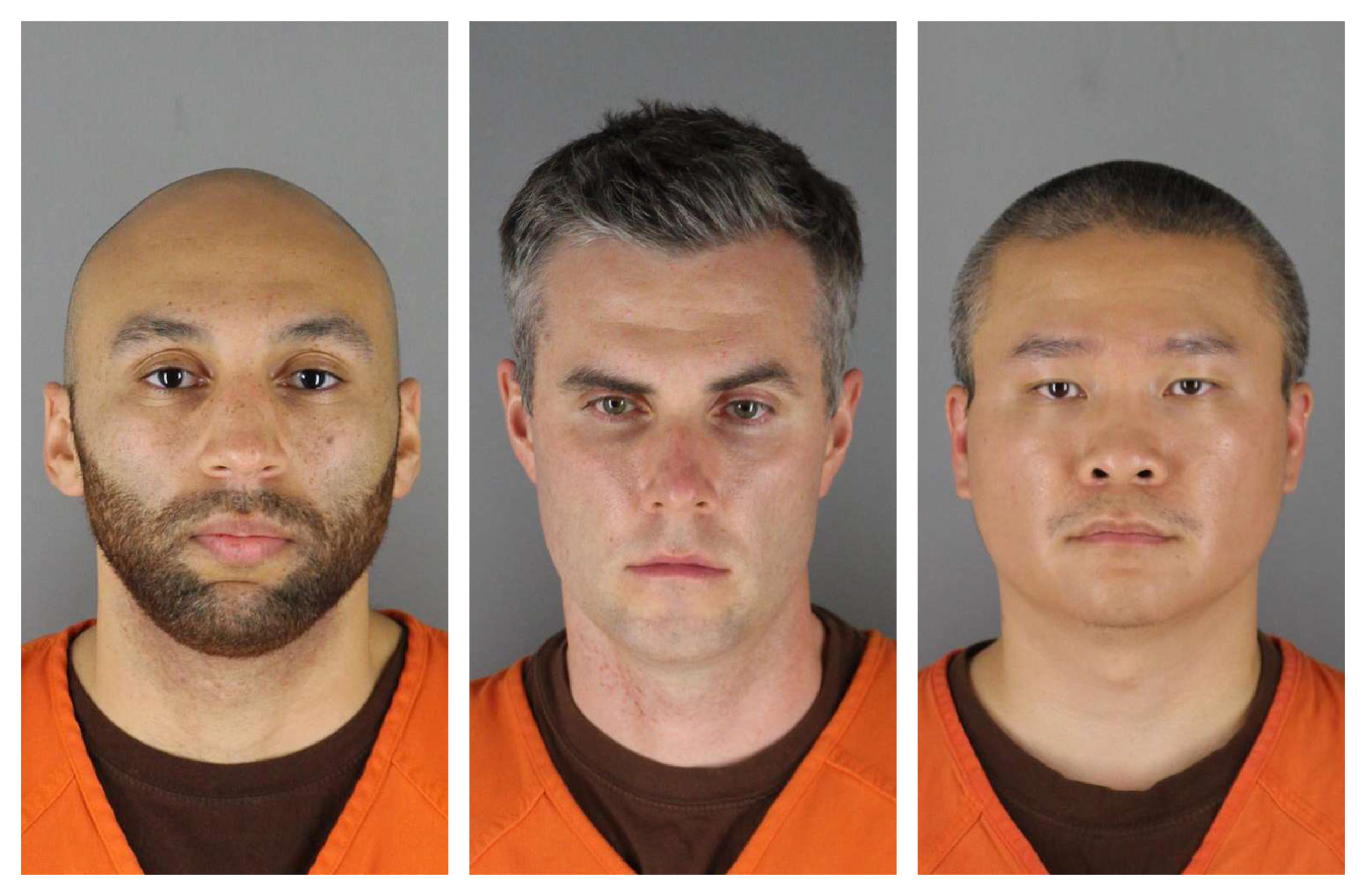 From left: J. Alexander Kueng, Thomas Lane and Tou Thao have been charged with aiding and abetting Derek Chauvin, who is charged with second-degree murder of George Floyd. Chauvin is charged with second-degree murder of George Floyd, a black man who died after being restrained by the Minneapolis police officers on May 25