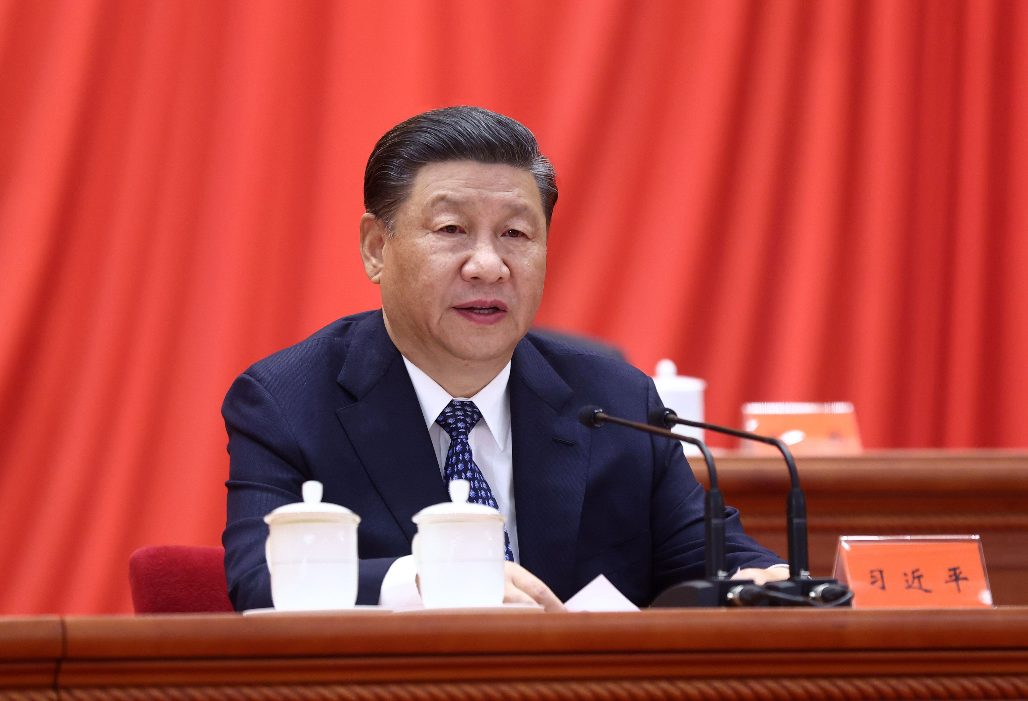 Chinese President Xi Jinping speaks at a meeting in Beijing on May 28.